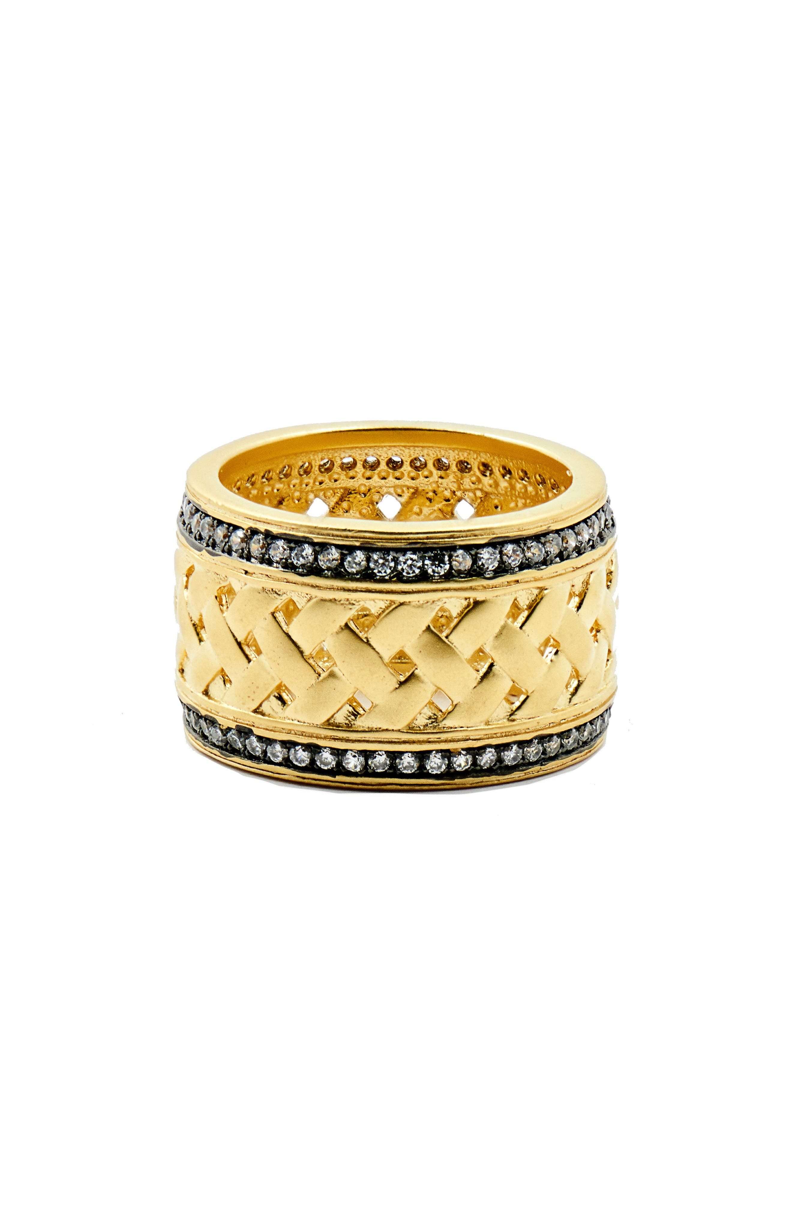 Textured Ornaments Wide Band Ring,                         Main,                         color, Black/ Gold