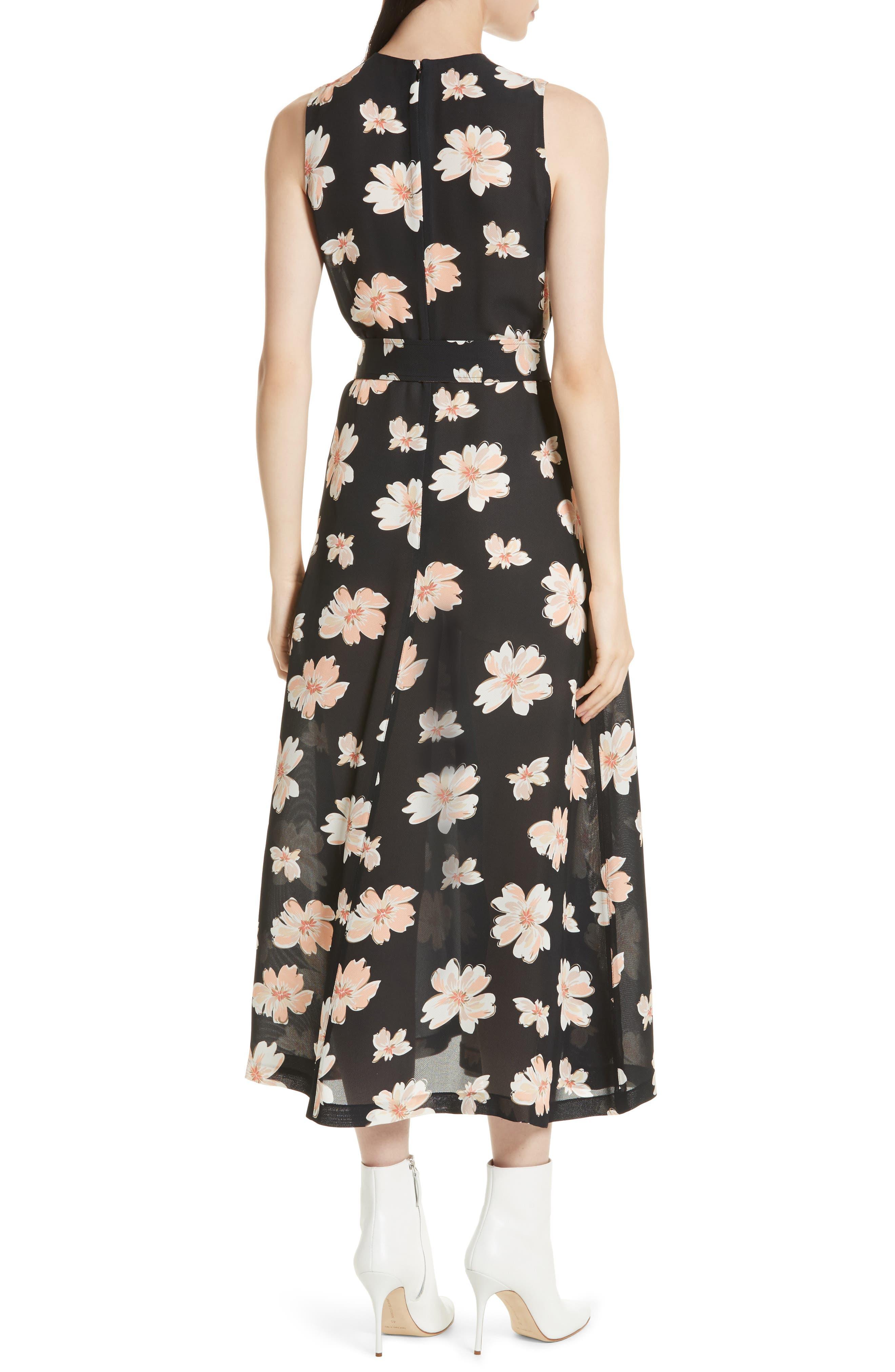 Arka Winterfloral Belted Midi Dress,                             Alternate thumbnail 2, color,                             Black Multi