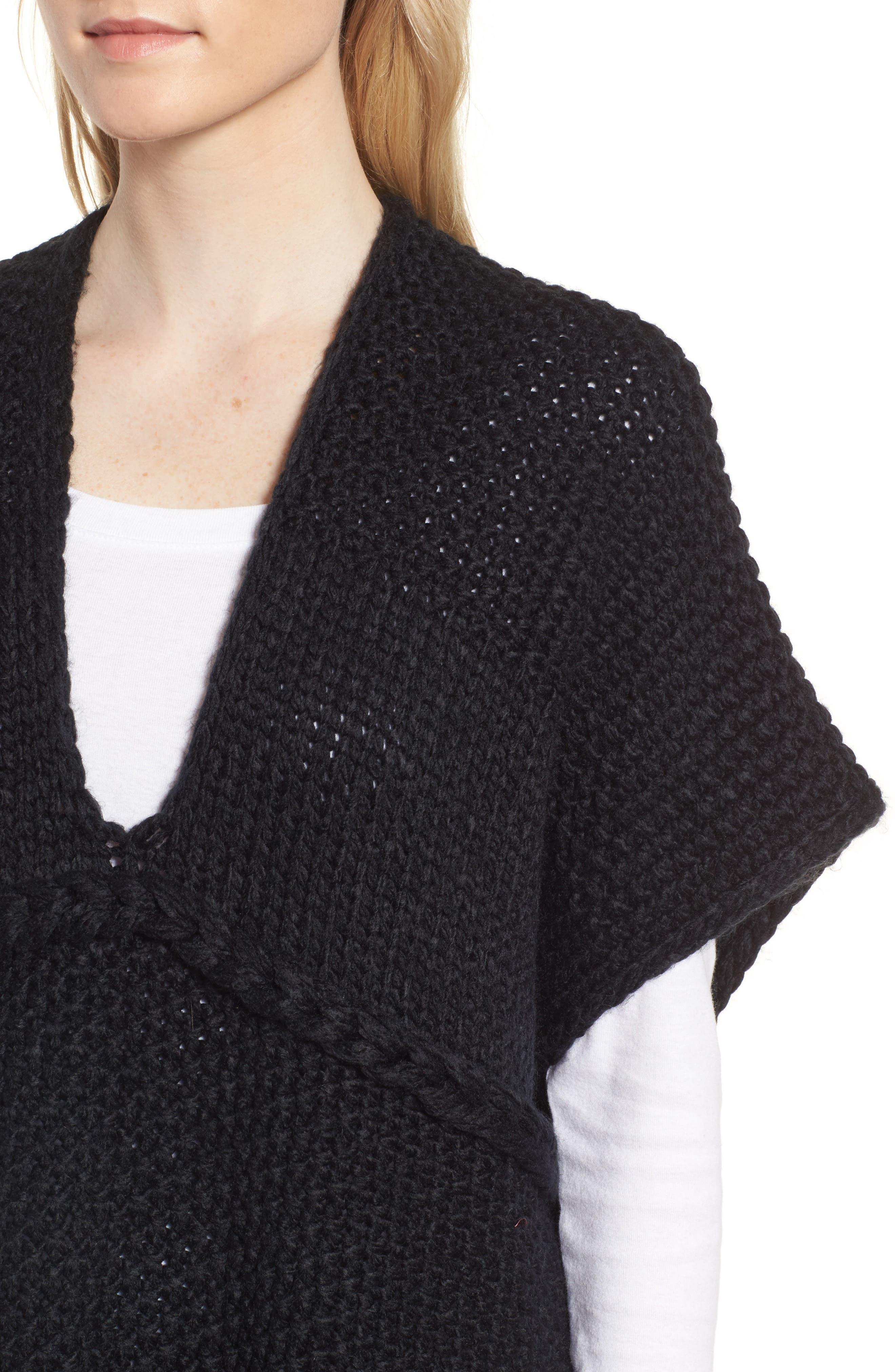 Knit Poncho,                             Alternate thumbnail 4, color,                             Black