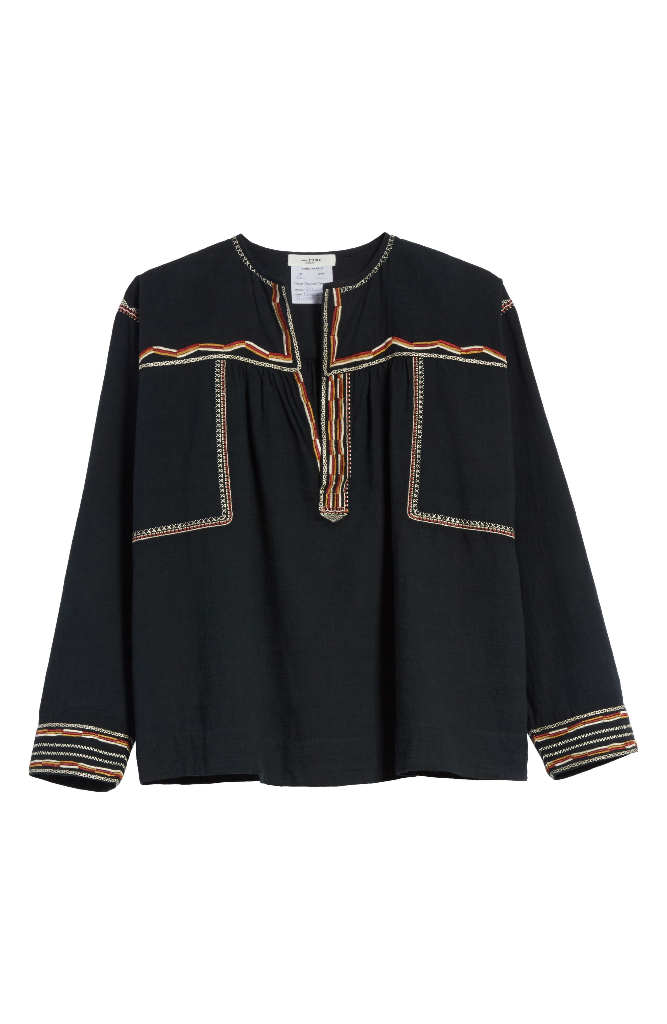 Isabel Marant Étoile Blicky Embroidered Top,                             Alternate thumbnail 6, color,                             Black