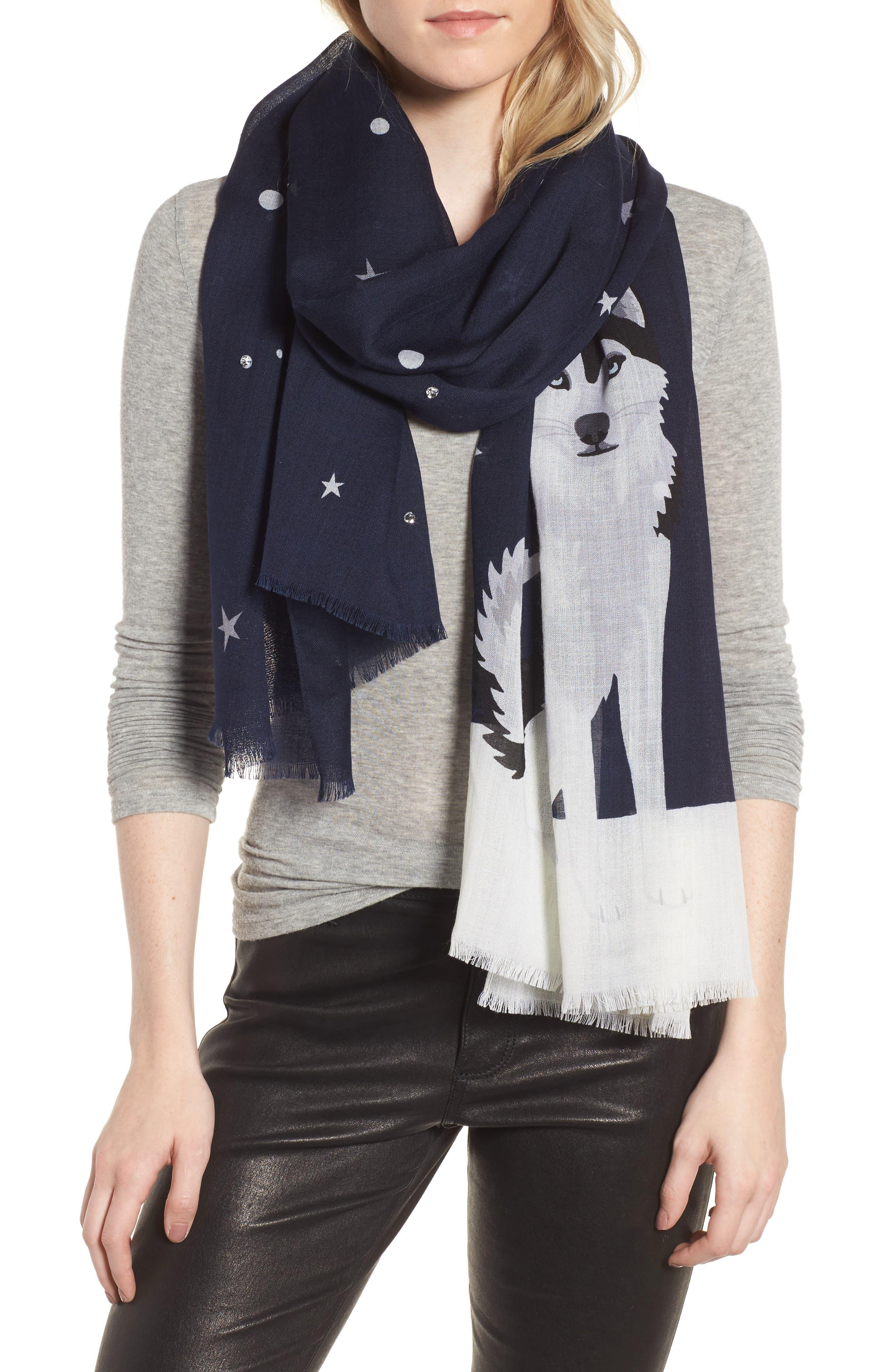 husky dog oblong wool scarf,                         Main,                         color, Rich Navy