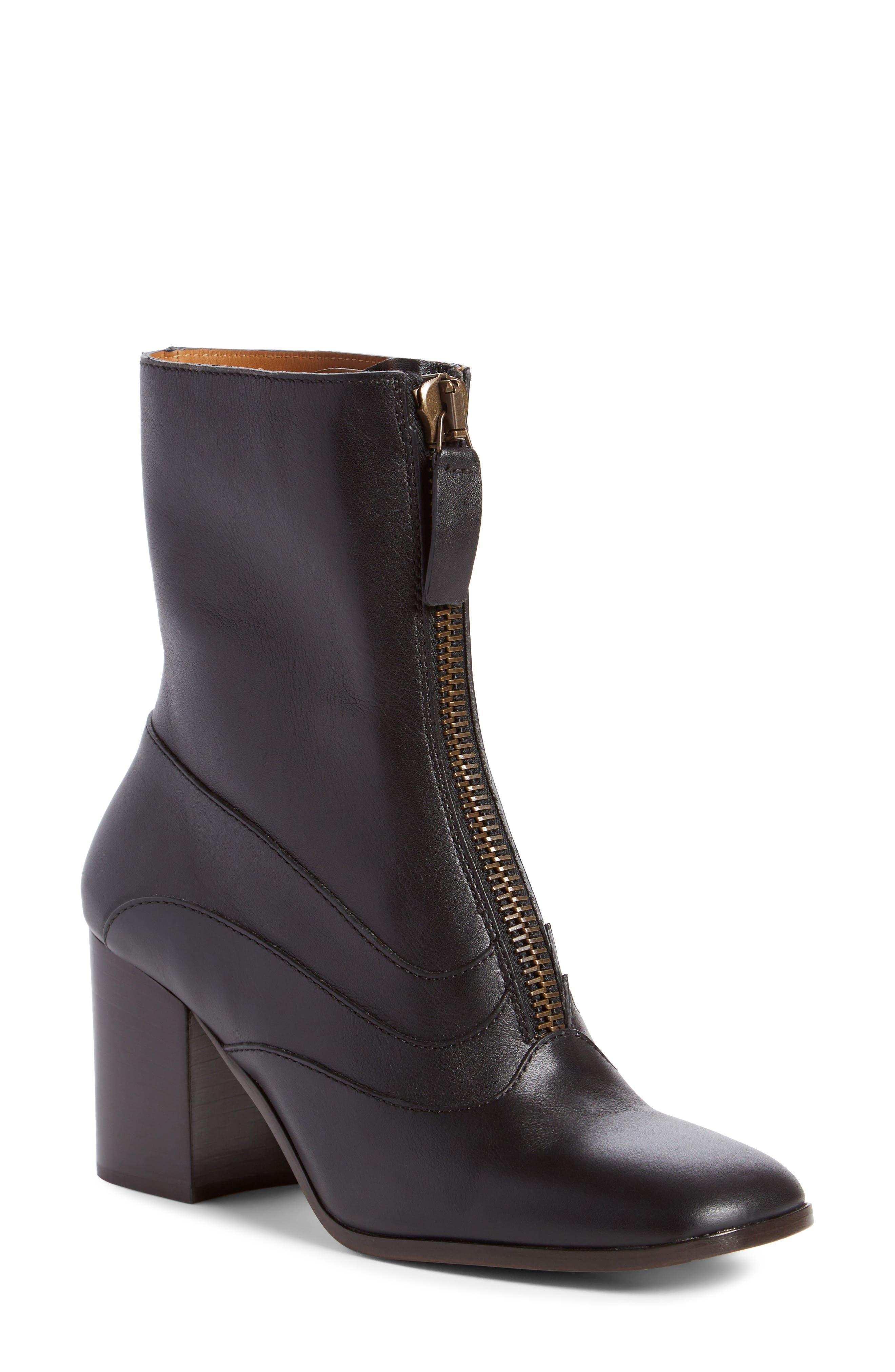 Qacey Square Toe Boot,                             Main thumbnail 1, color,                             Black