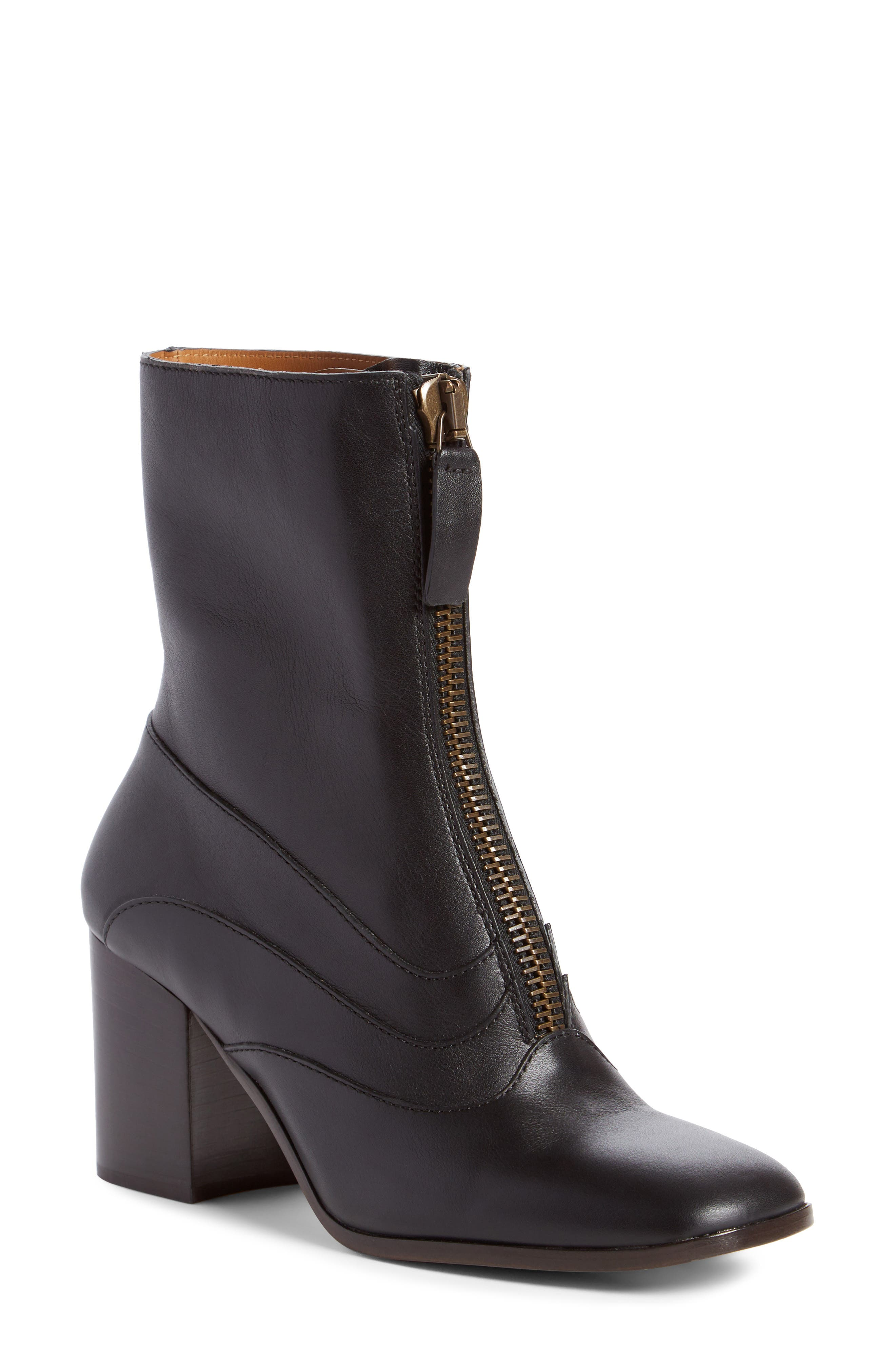 Qacey Square Toe Boot,                         Main,                         color, Black