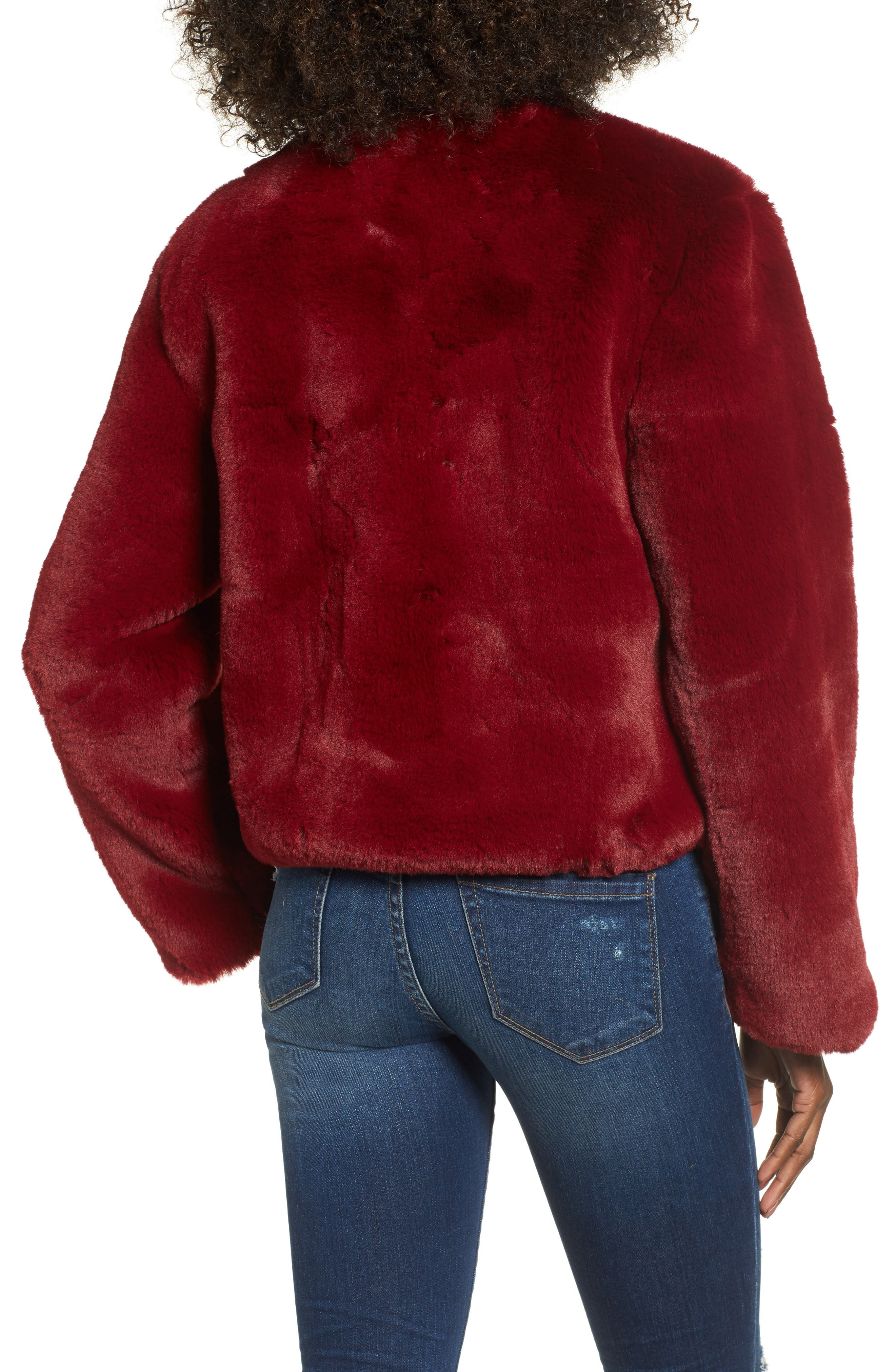 Lonely Hearts Faux Fur Jacket,                             Alternate thumbnail 2, color,                             Ruby