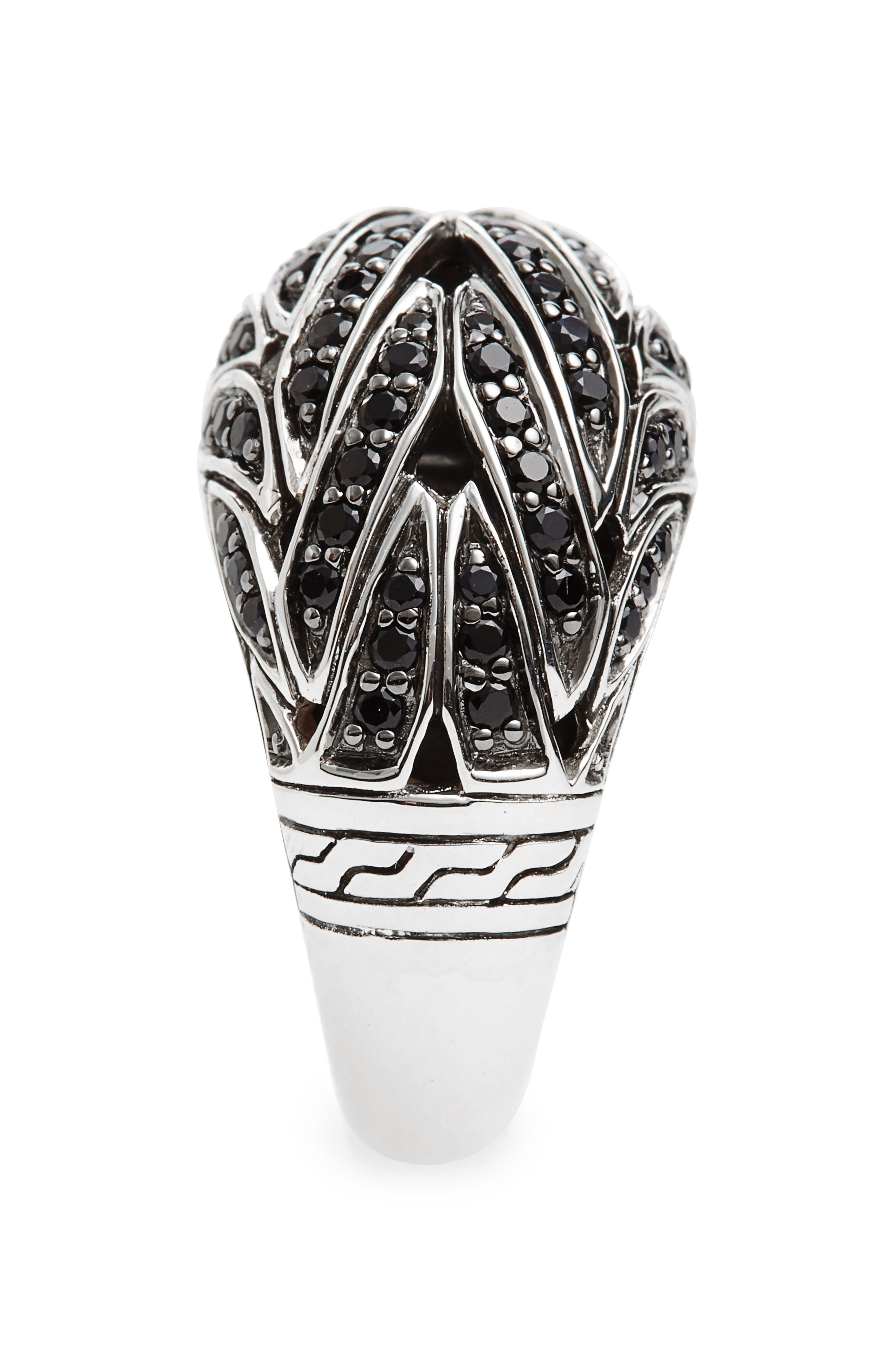 Classic Chain Dome Ring,                             Alternate thumbnail 2, color,                             Silver/ Black Sapphire
