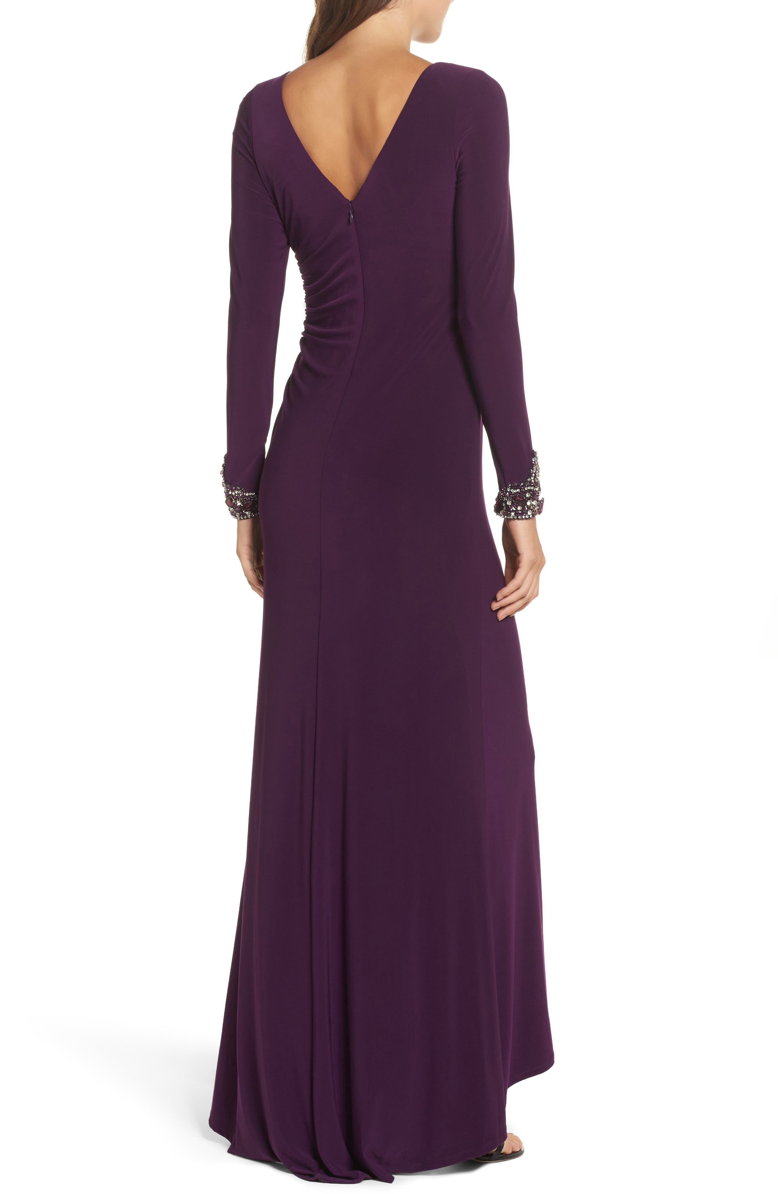 Beaded Sleeve Ruched Jersey Gown,                             Alternate thumbnail 2, color,                             Plum
