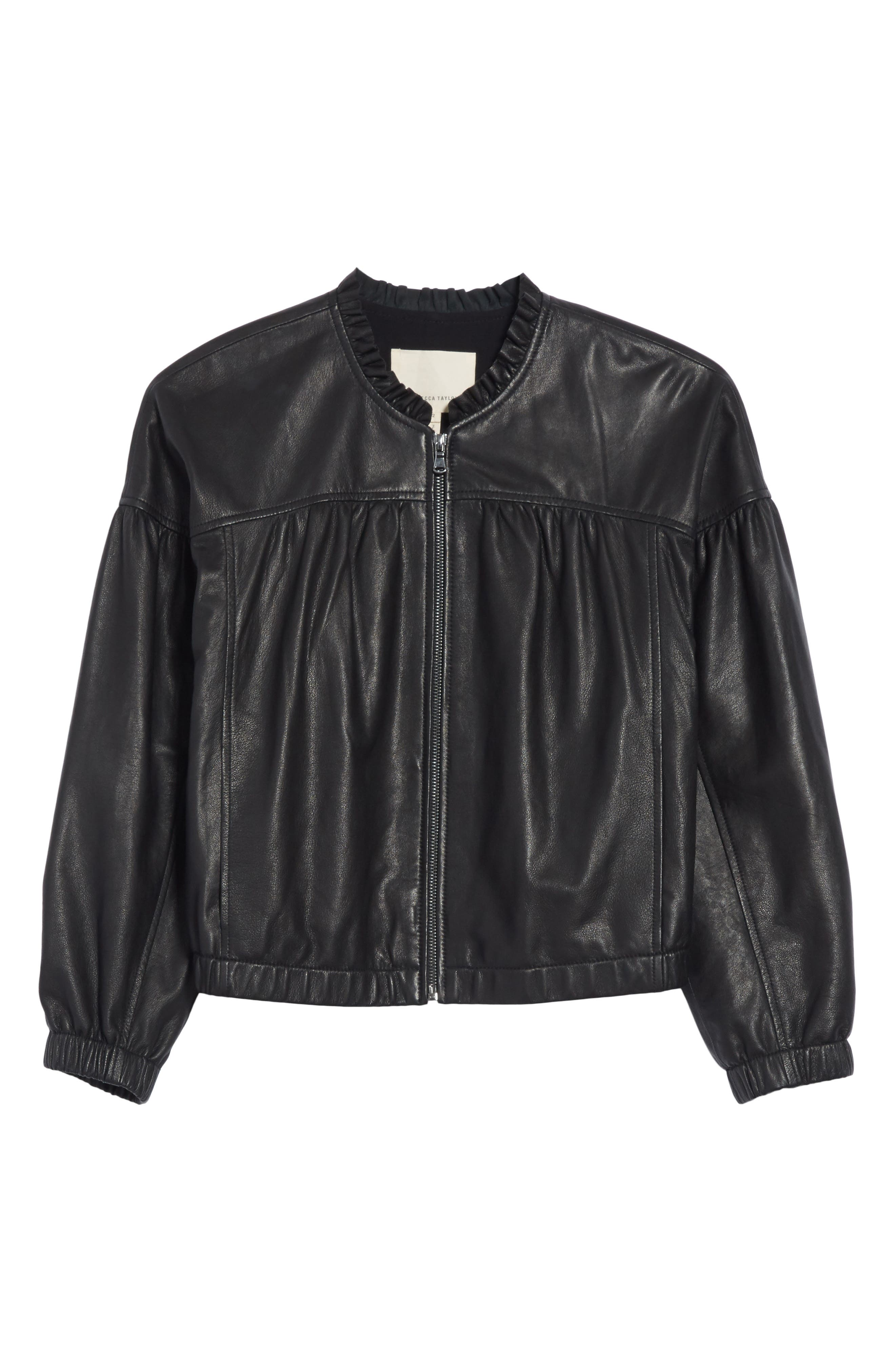 Leather Bomber Jacket,                             Alternate thumbnail 6, color,                             Black