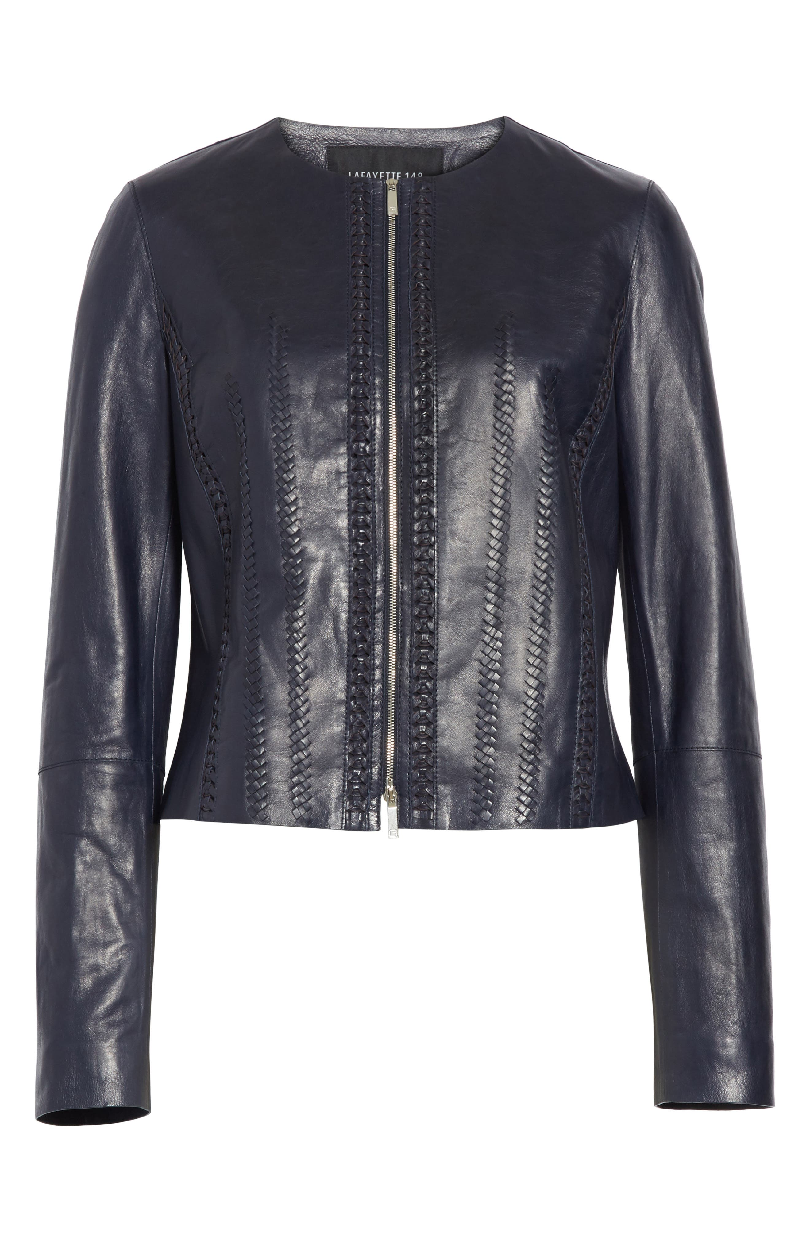 Clyde Lambskin Leather Jacket,                             Alternate thumbnail 7, color,                             Ink