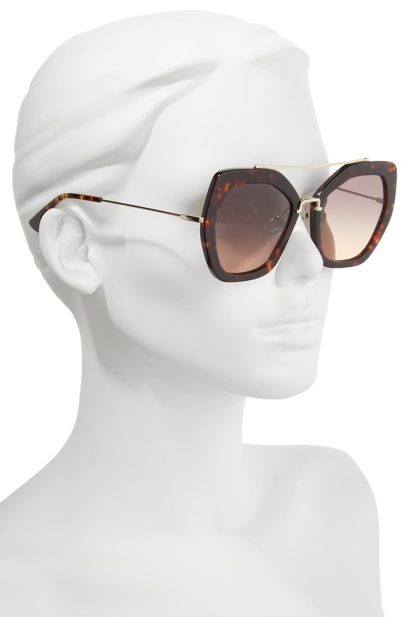 Bowery 55mm Geometric Sunglasses,                             Alternate thumbnail 2, color,                             Tortoise