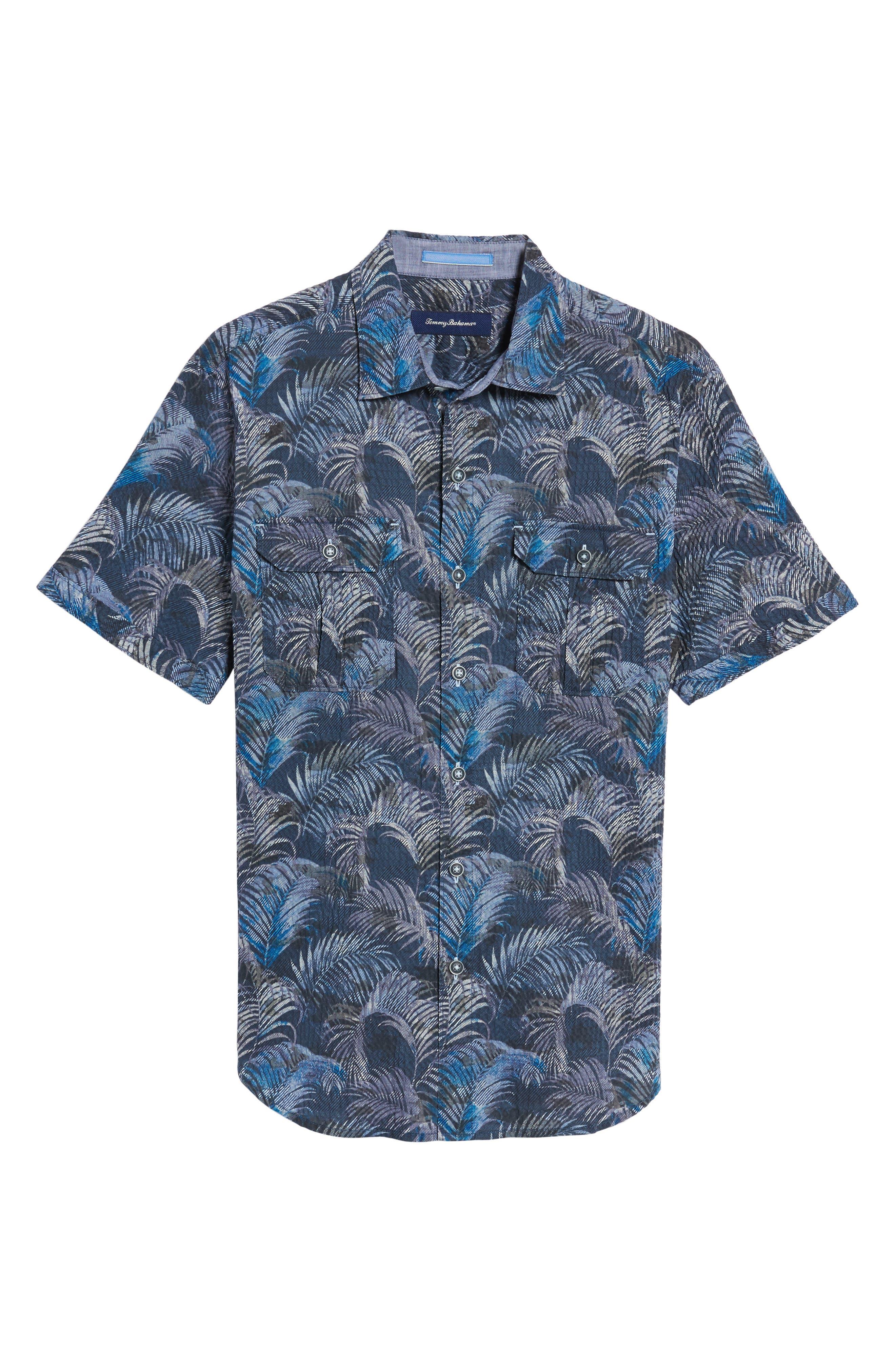 Fez Fronds Regular Fit Sport Shirt Shirt,                             Alternate thumbnail 6, color,                             Maritime