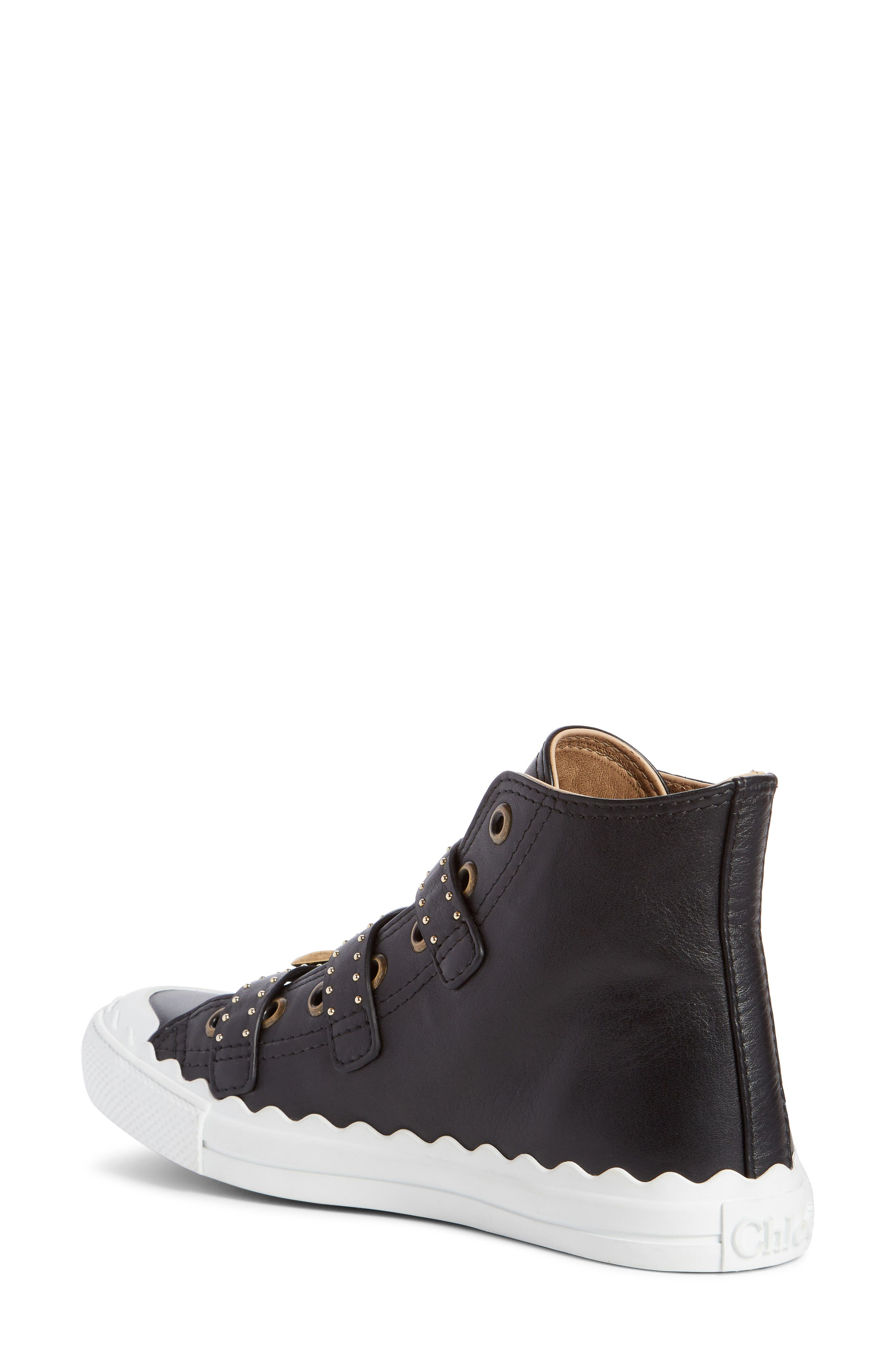 Kyle Stud Buckle High Top Sneaker,                             Alternate thumbnail 2, color,                             Black/ Gold