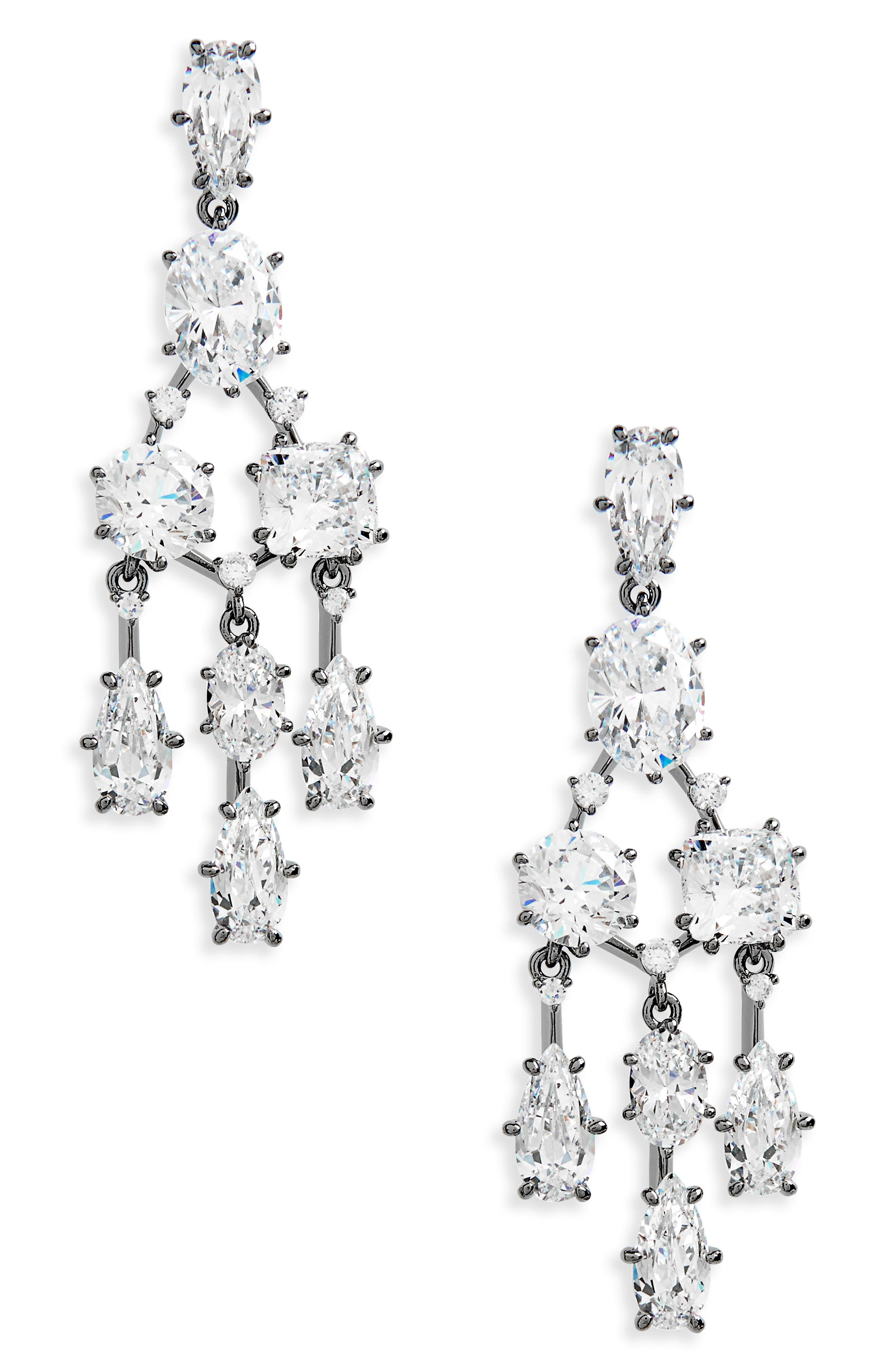 Cubic Zirconia Chandelier Earrings,                         Main,                         color, Black