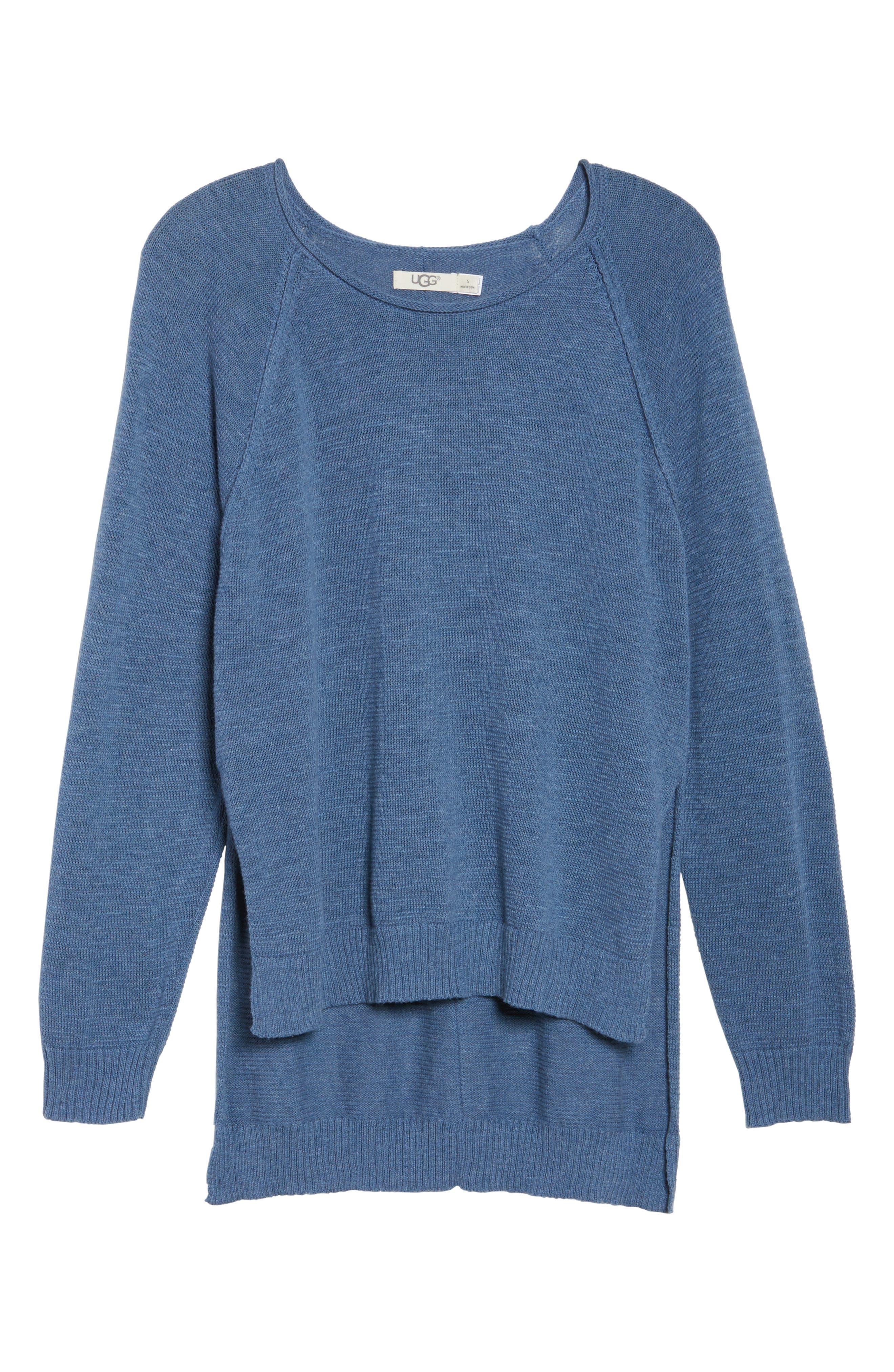 Estela High/Low Sweater,                             Alternate thumbnail 6, color,                             Deep River Heather
