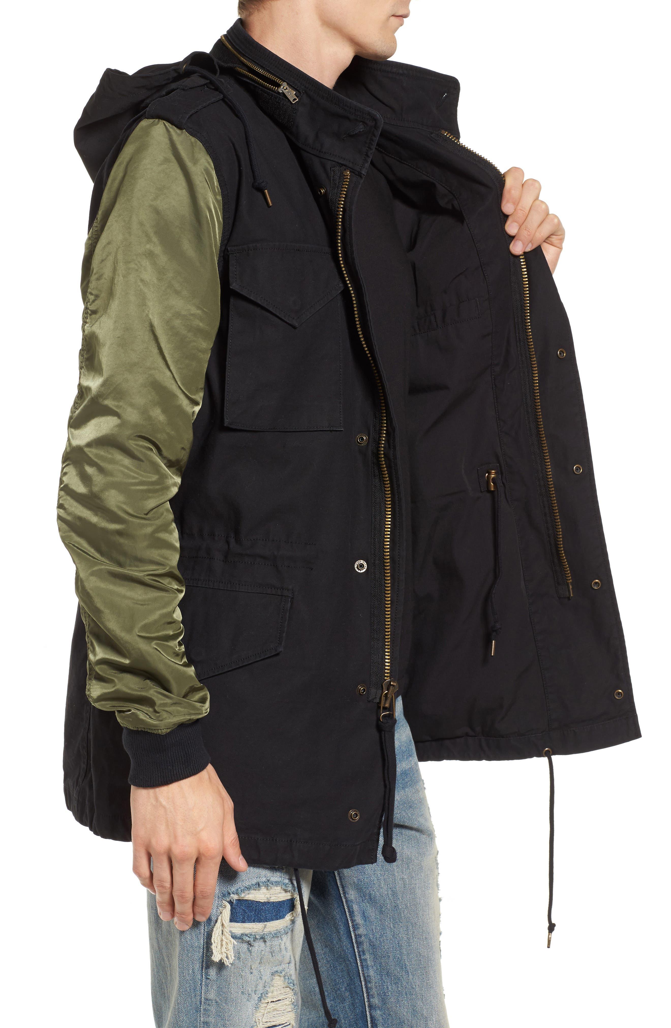 Fusion Field Coat,                             Alternate thumbnail 3, color,                             Black/ Sage