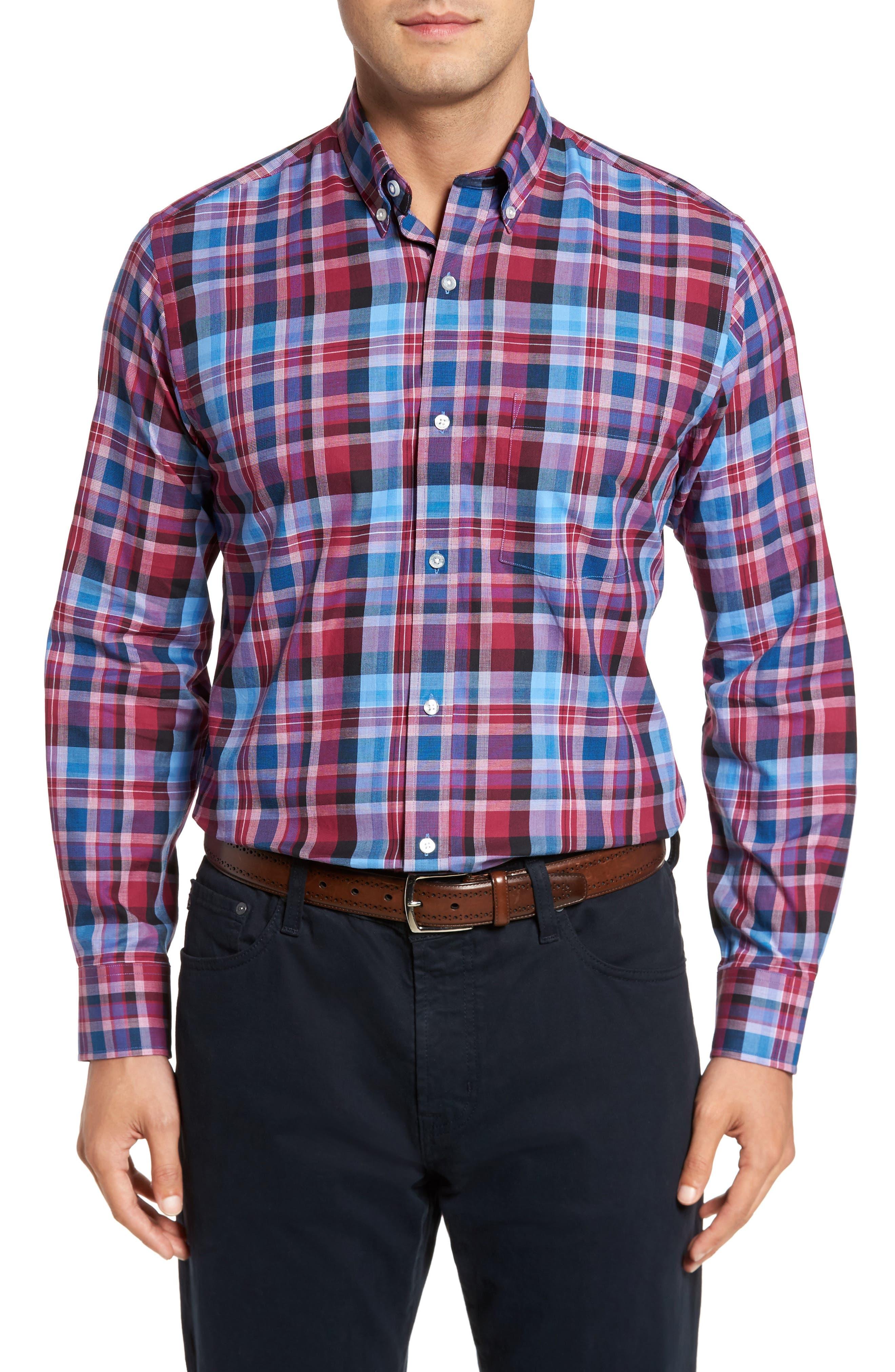 Colfax Plaid Sport Shirt,                         Main,                         color, Merlot