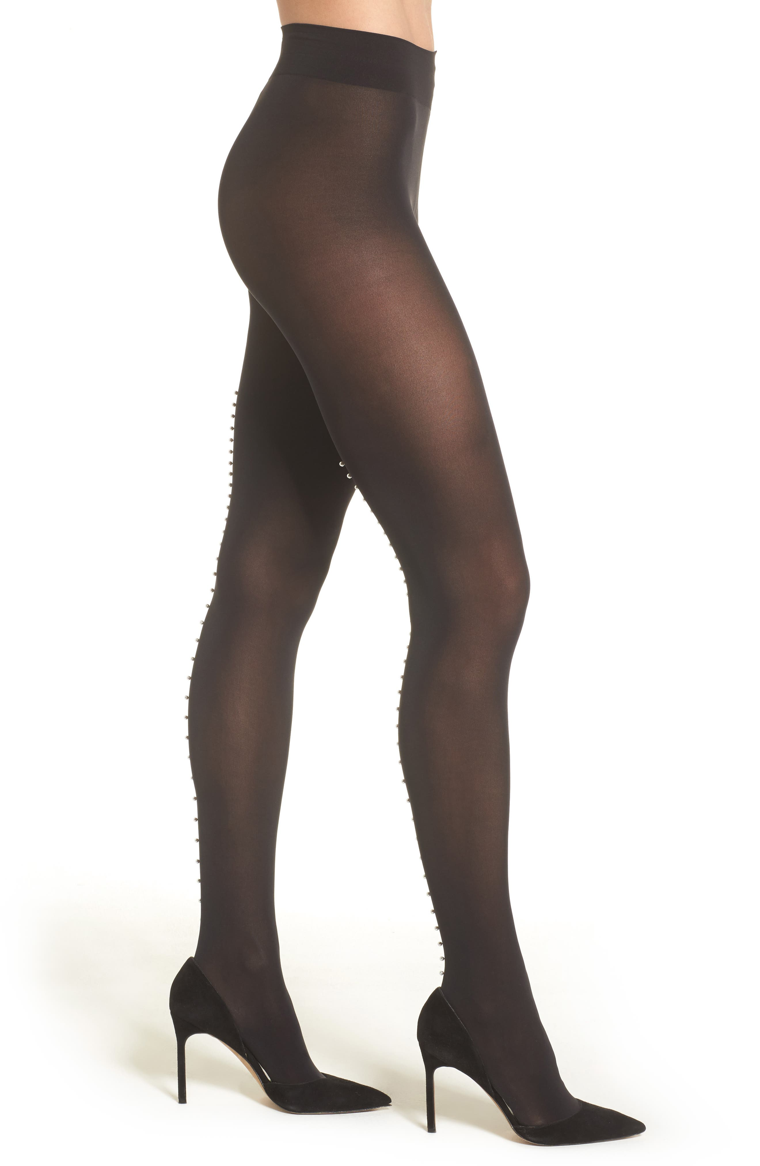 Pearlescent Beaded Tights,                         Main,                         color, Black/ Pearl