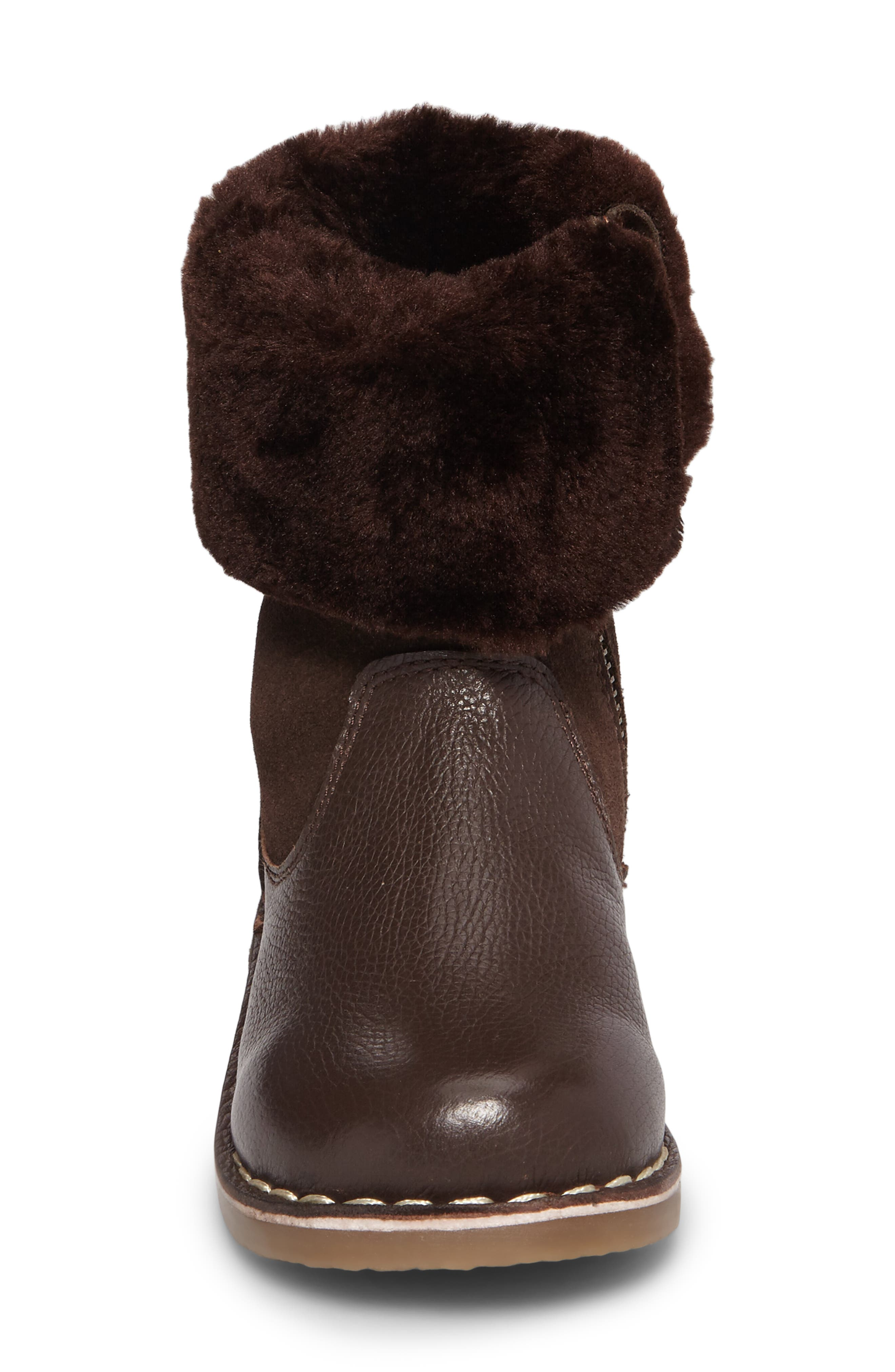 Faux Fur Cuffed Boot,                             Alternate thumbnail 4, color,                             Chocolate Brown