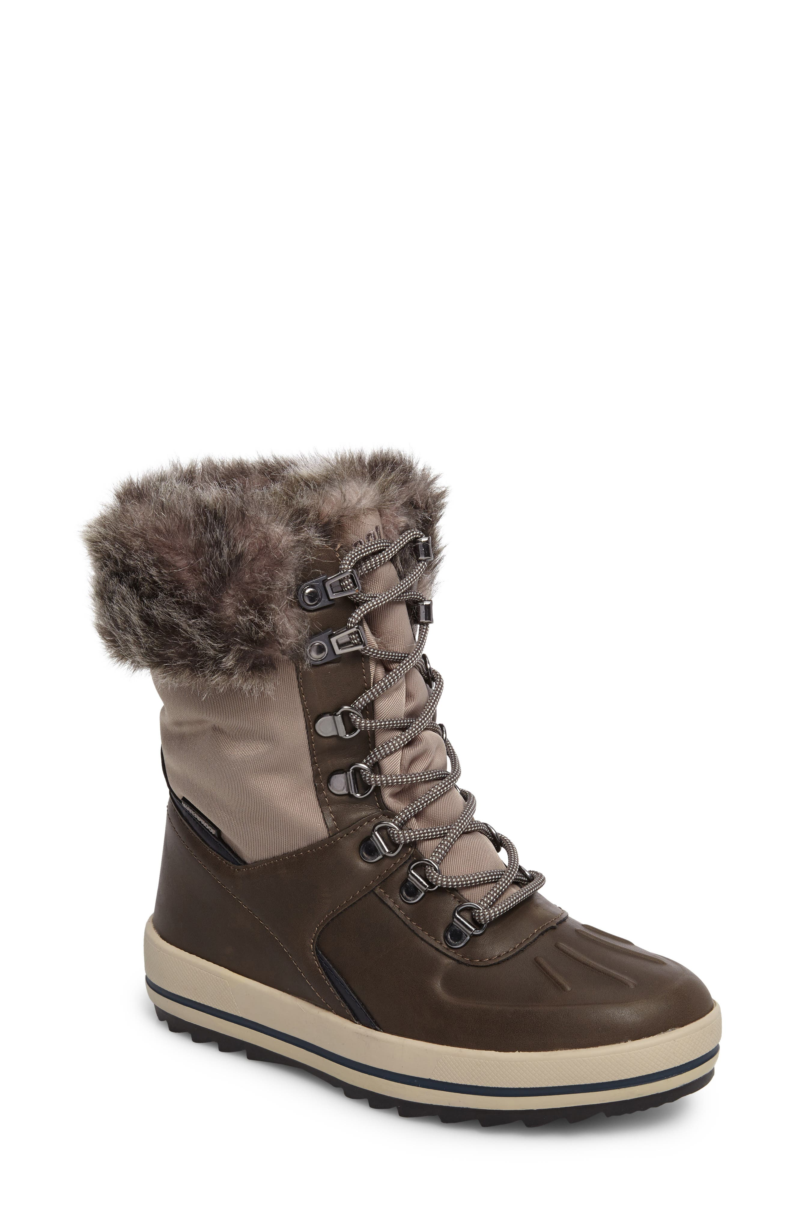 Viper Waterproof Snow Boot with Faux Fur Trim,                             Main thumbnail 1, color,                             Taupe/ Oatmeal