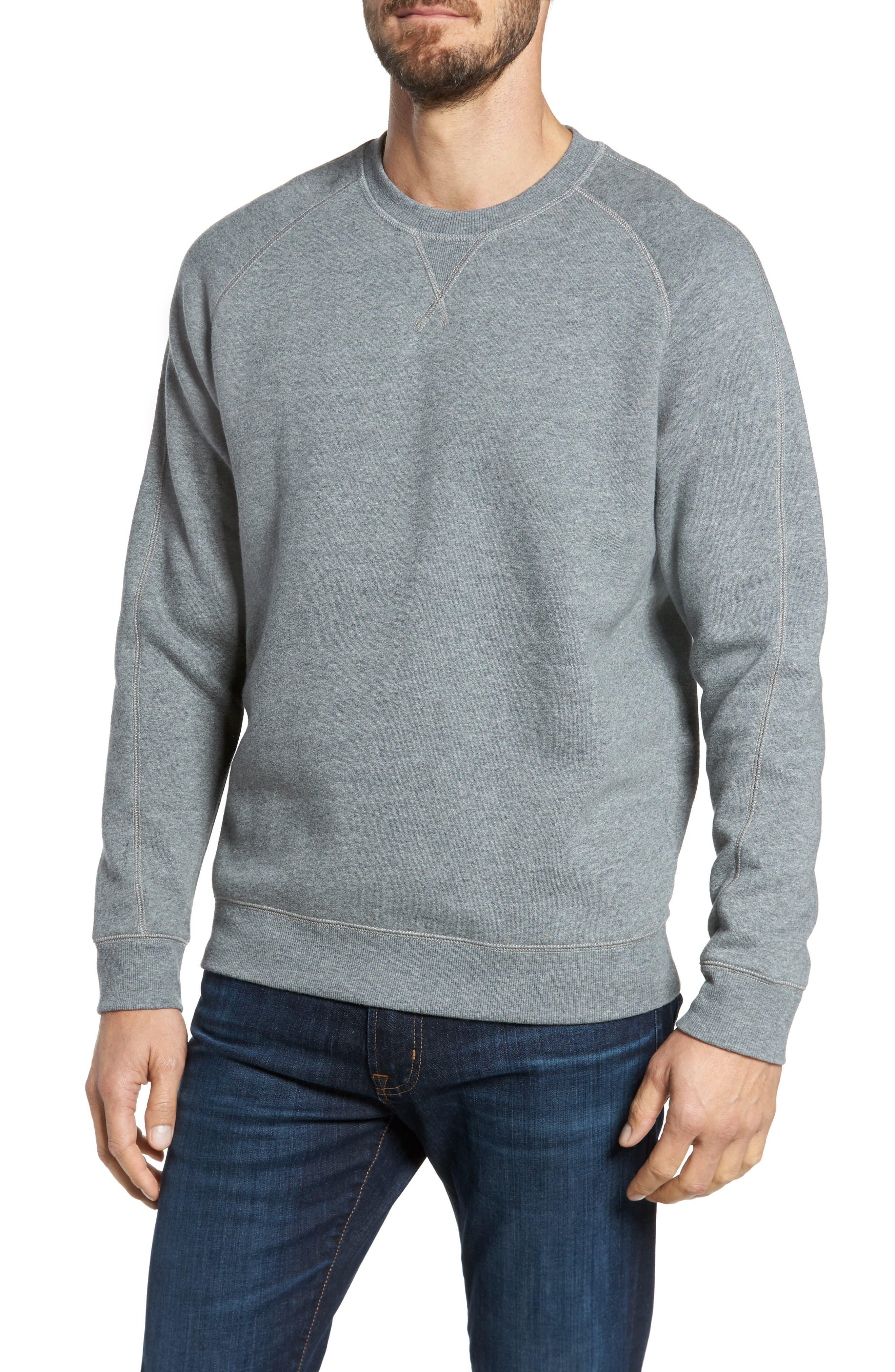 Fleece Sweatshirt,                         Main,                         color, Grey Paloma Heather