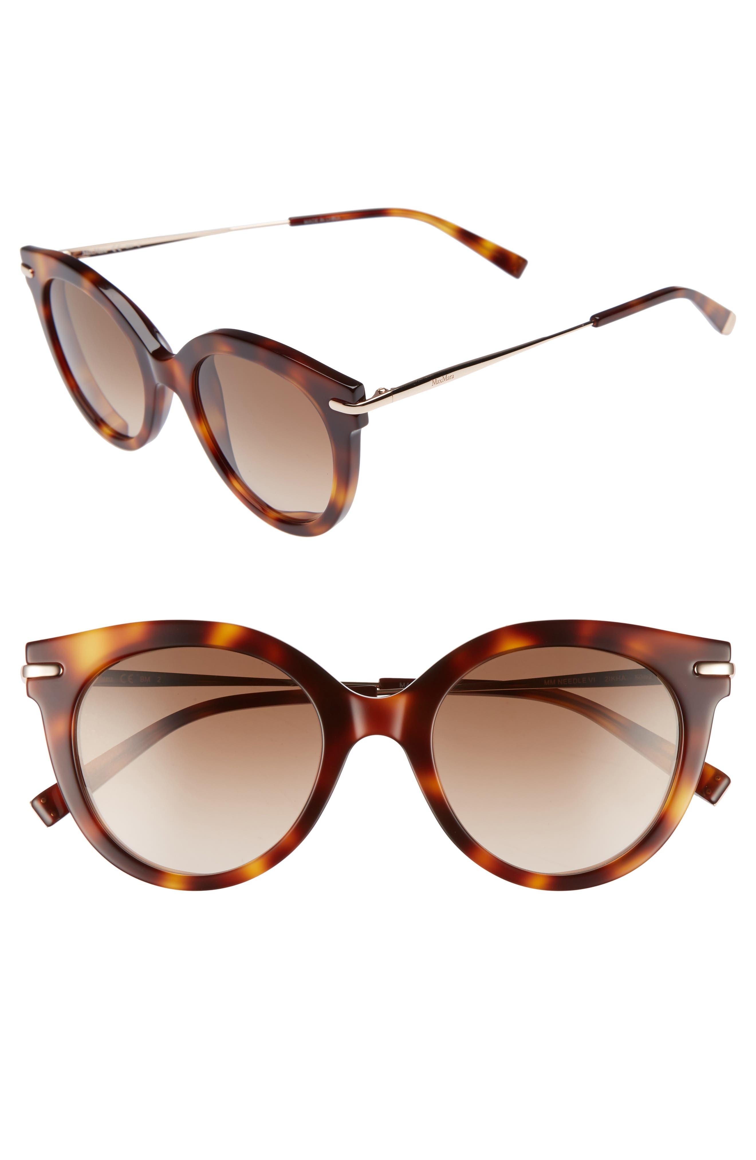 Needle VI 50mm Gradient Round Sunglasses,                             Main thumbnail 1, color,                             Havana Gold