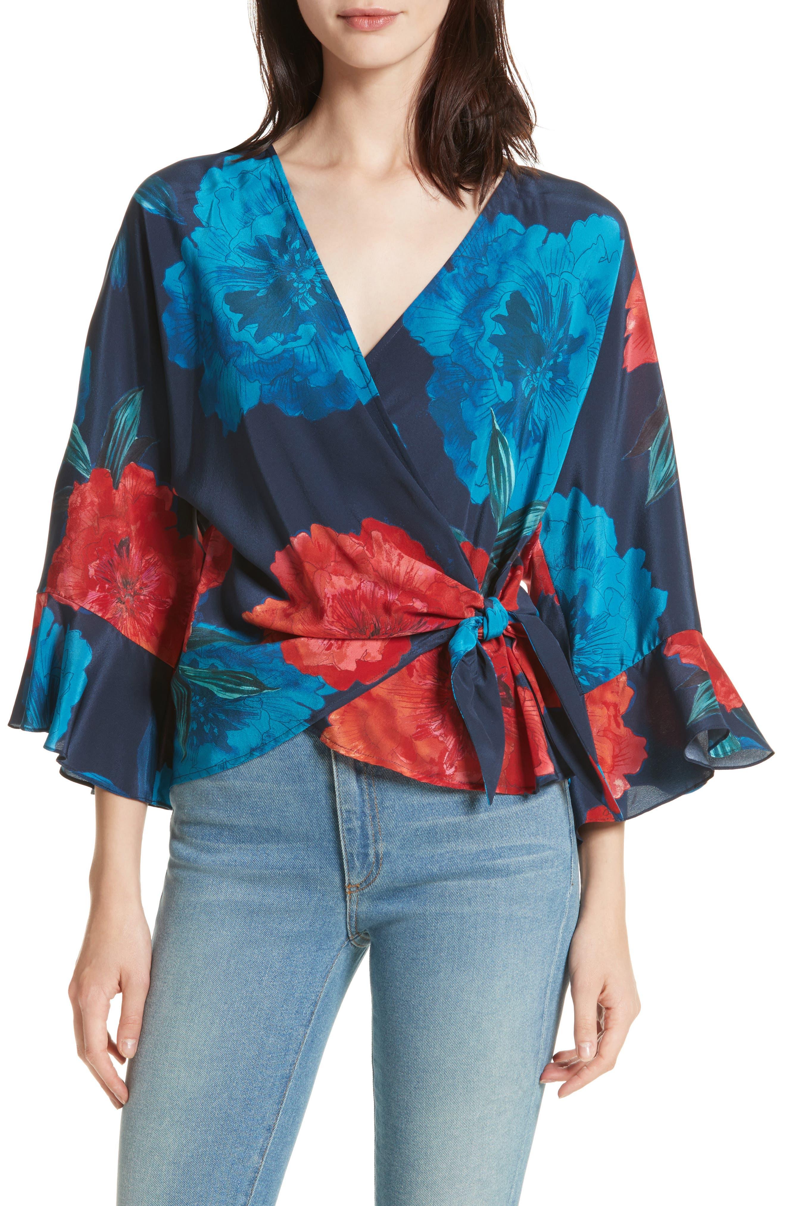Floral Surplice Silk Blouse,                             Main thumbnail 1, color,                             Large Red Blossoms