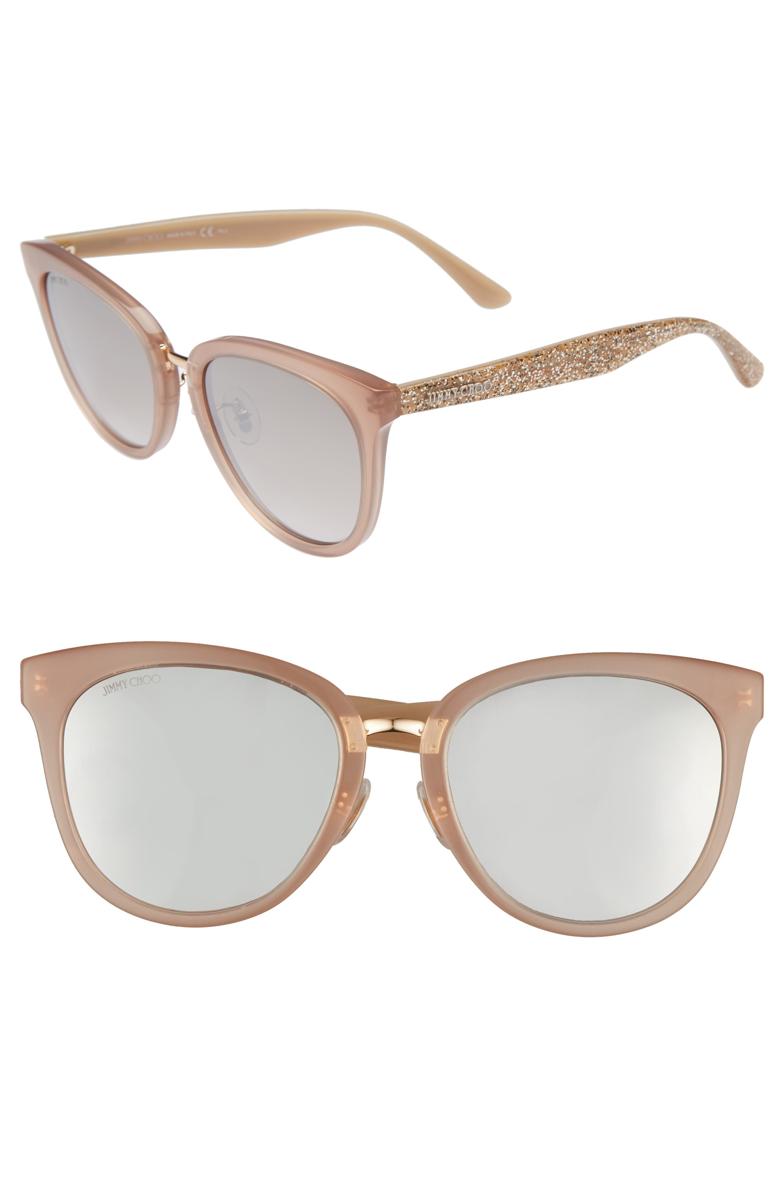 Cadefs 55mm Sunglasses,                             Main thumbnail 1, color,                             Nude Glitter Nude