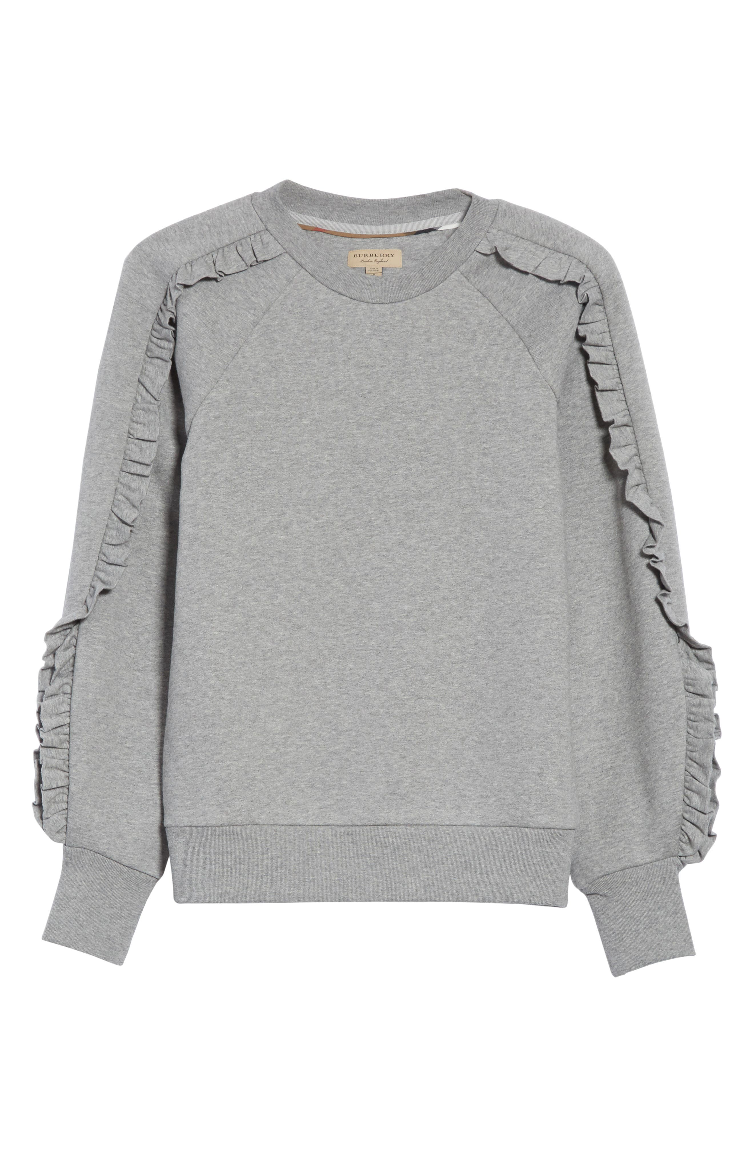 Alternate Image 6  - Burberry Kupa Ruffle Sleeve Sweatshirt