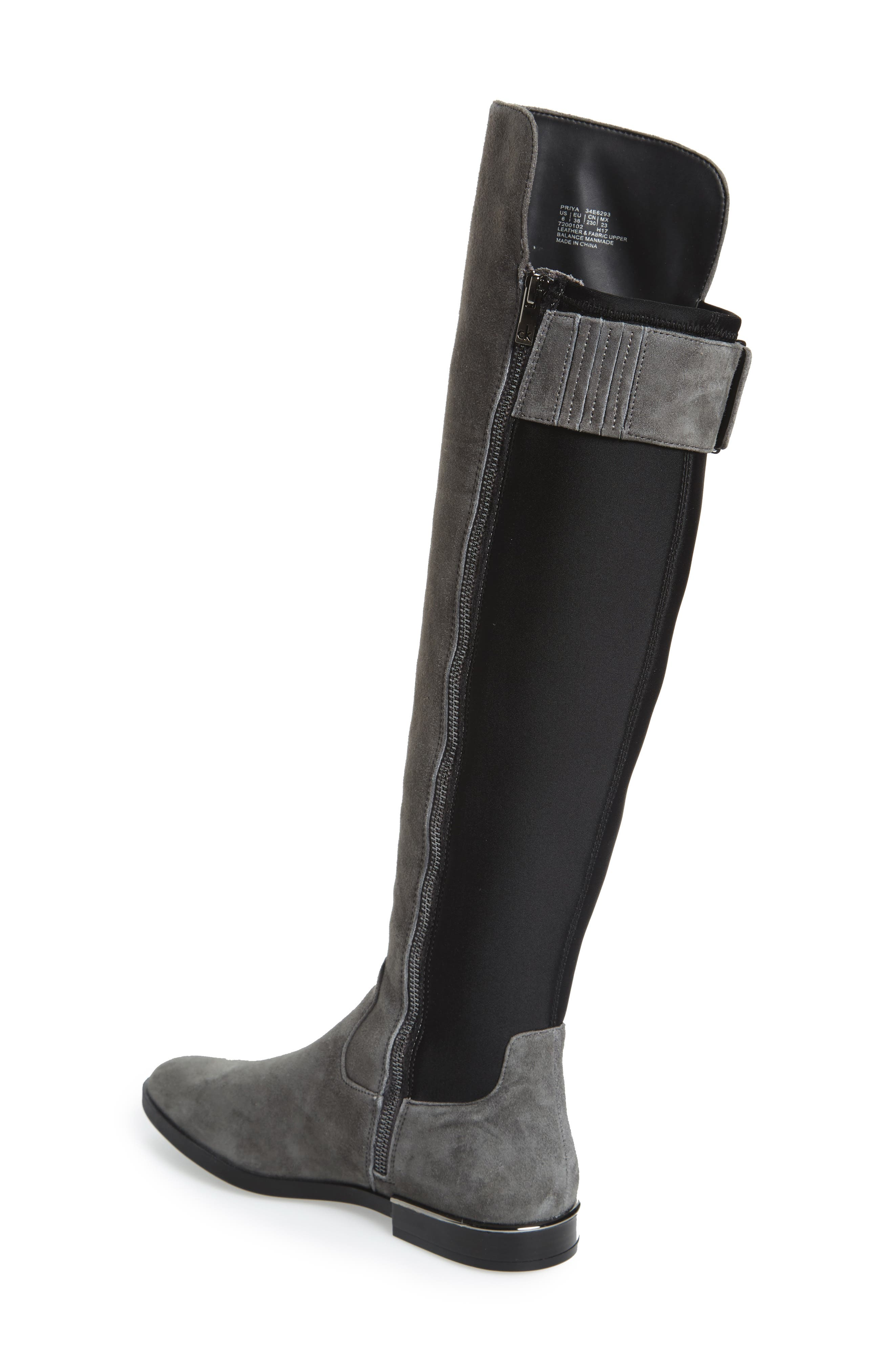 Priya Over the Knee Boot,                             Alternate thumbnail 2, color,                             Slate/ Black Suede