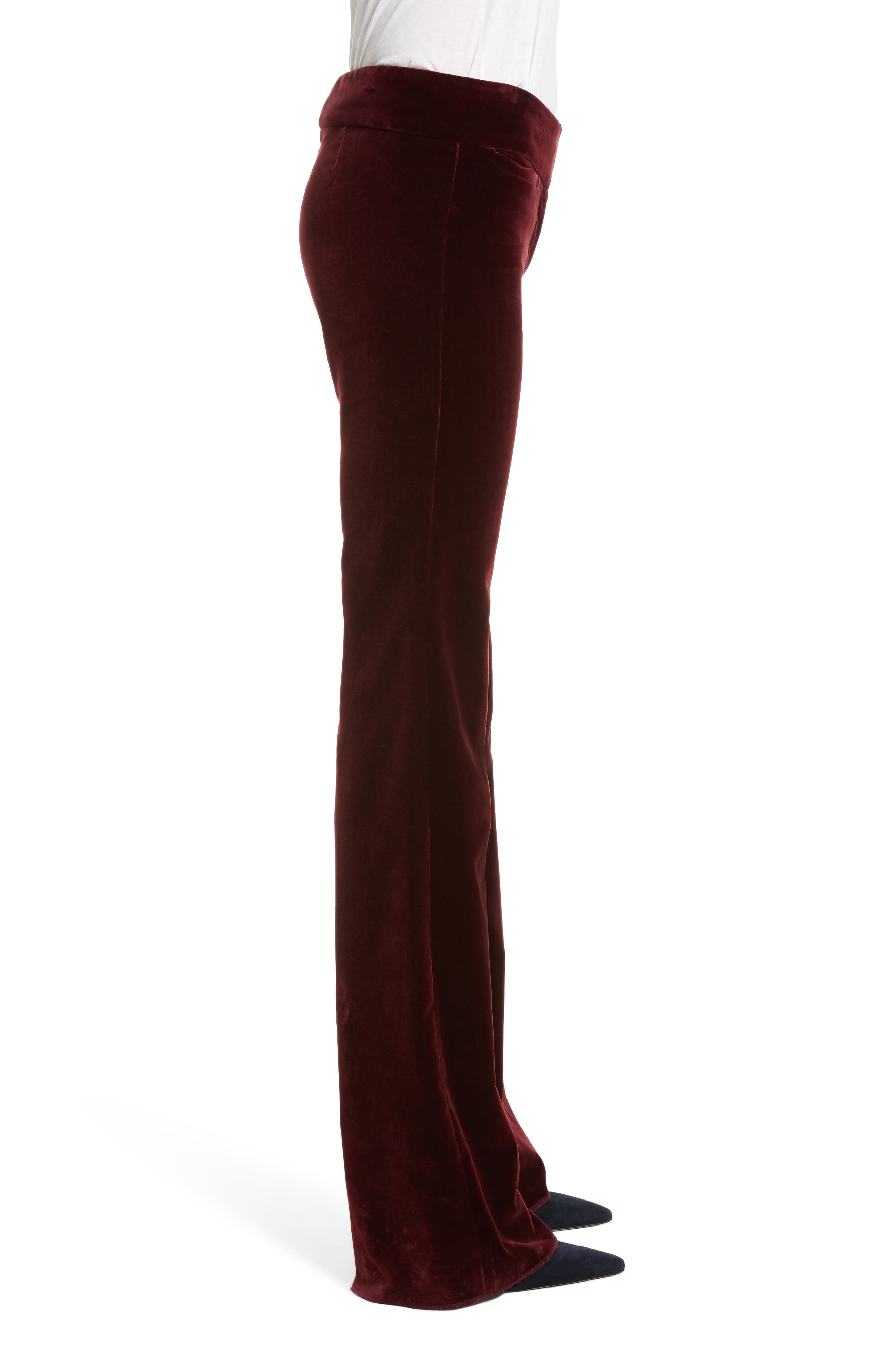 Amoire Velvet Flare Pants,                             Alternate thumbnail 5, color,                             Burgundy
