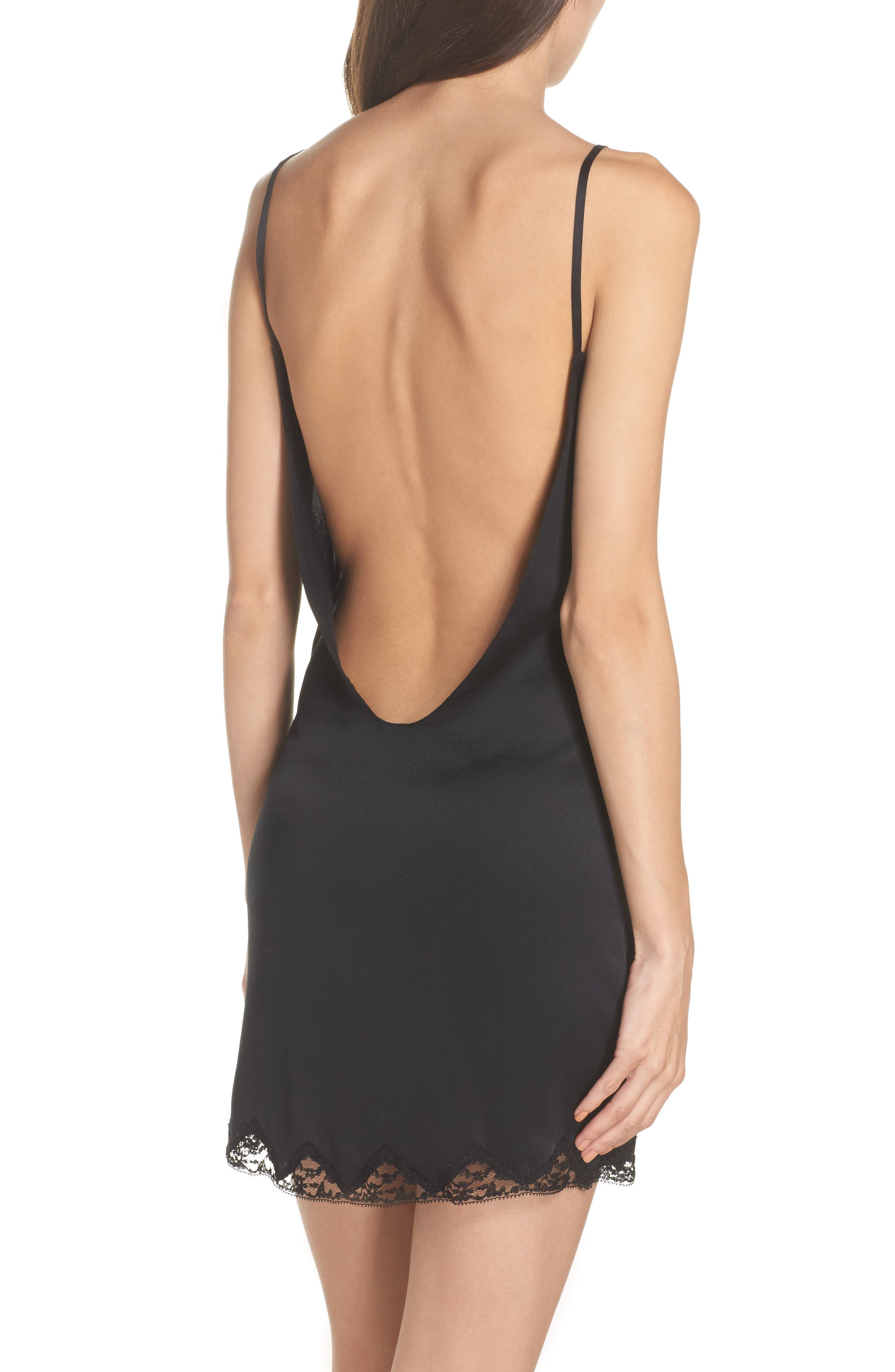 Gisele Silk Chemise,                             Alternate thumbnail 2, color,                             Noir