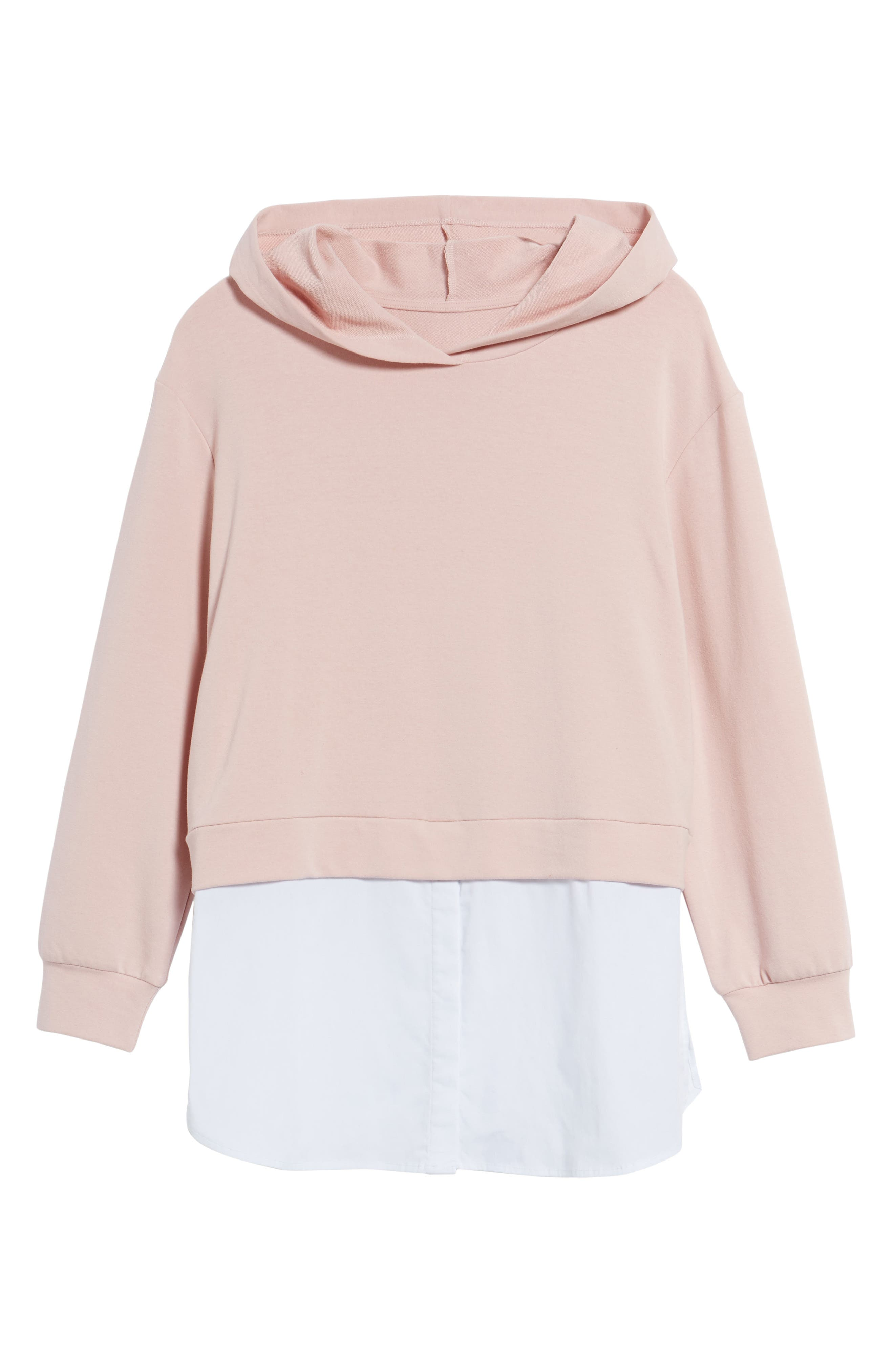 Layered Look Hoodie,                             Alternate thumbnail 6, color,                             Dusty Pink