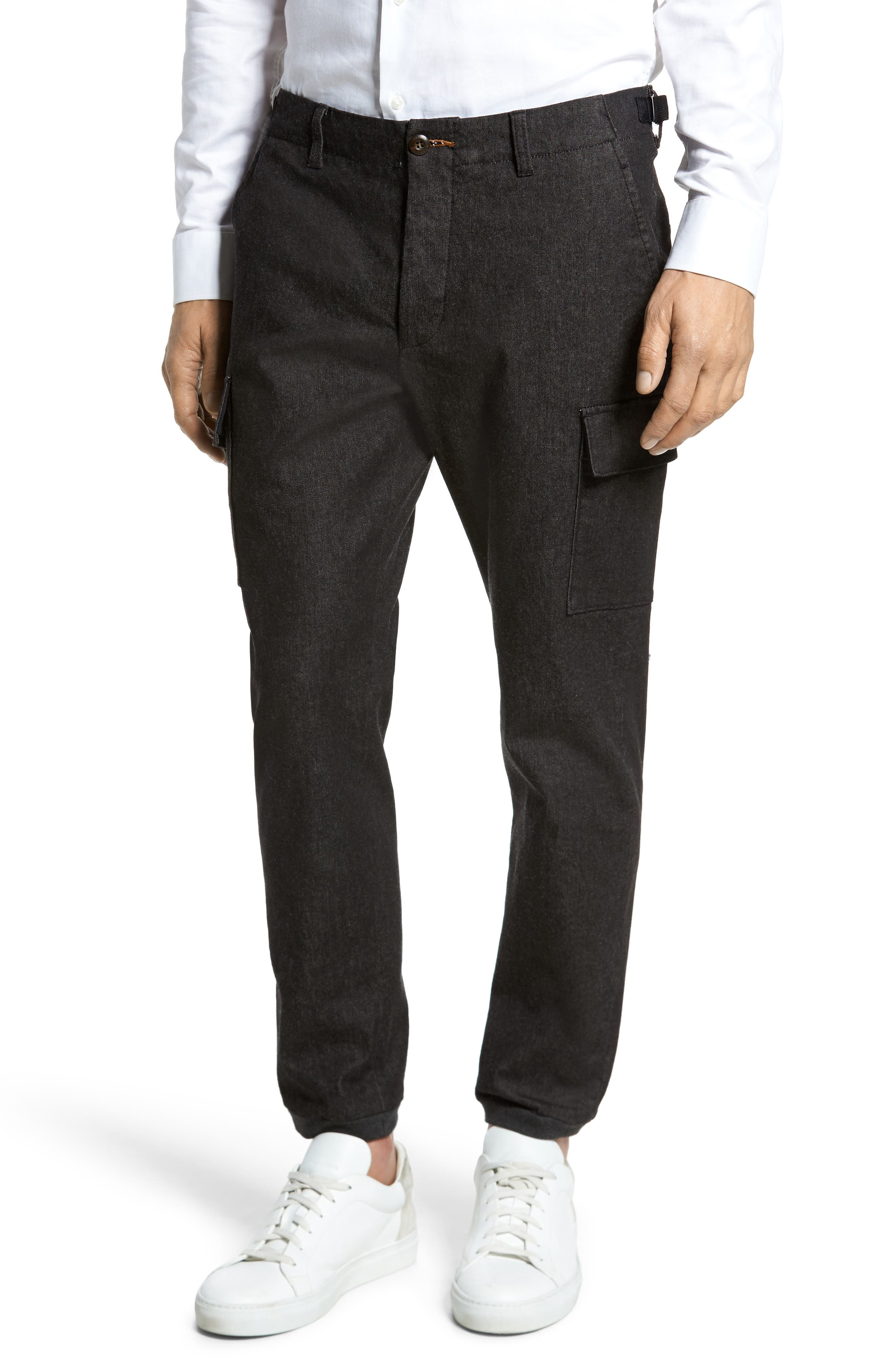 Brushed Stretch Twill Pants,                         Main,                         color, Charcoal Mel
