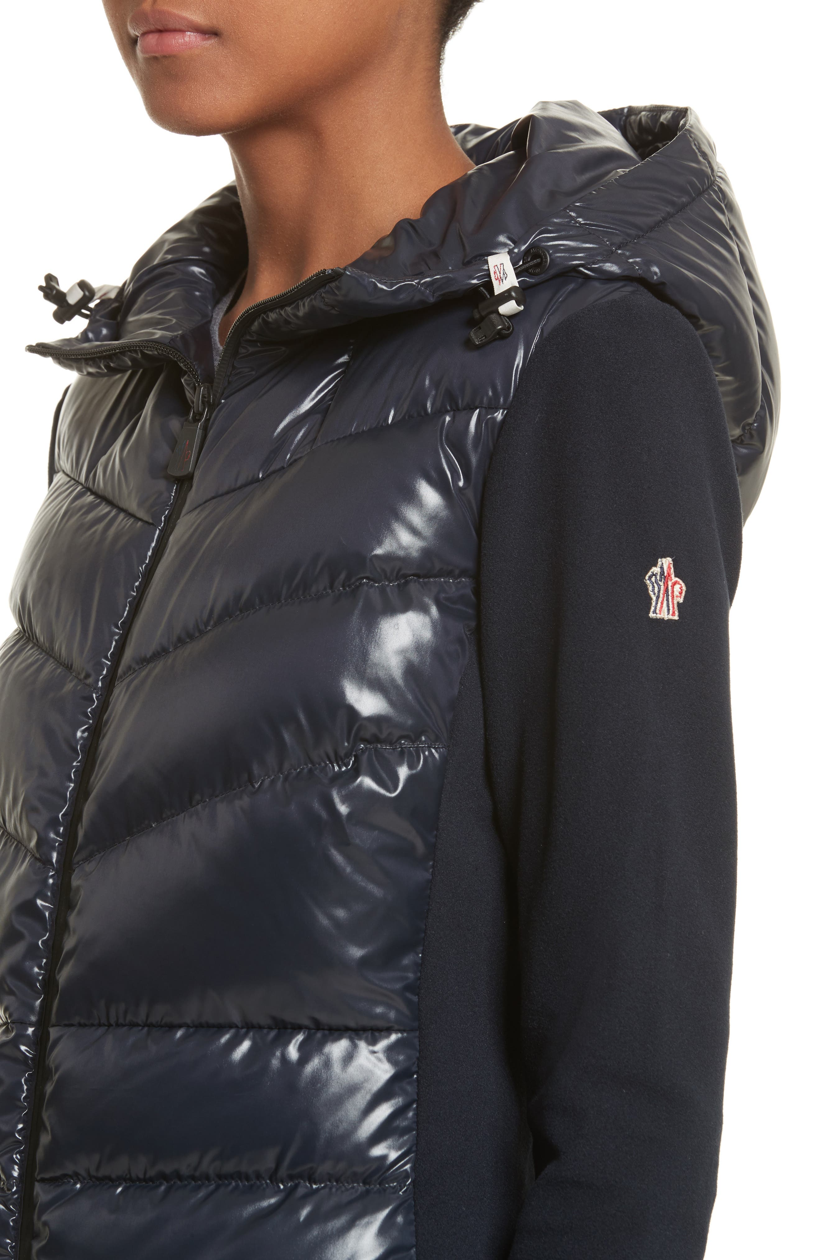 Quilted Front Hooded Jacket,                             Alternate thumbnail 4, color,                             Navy