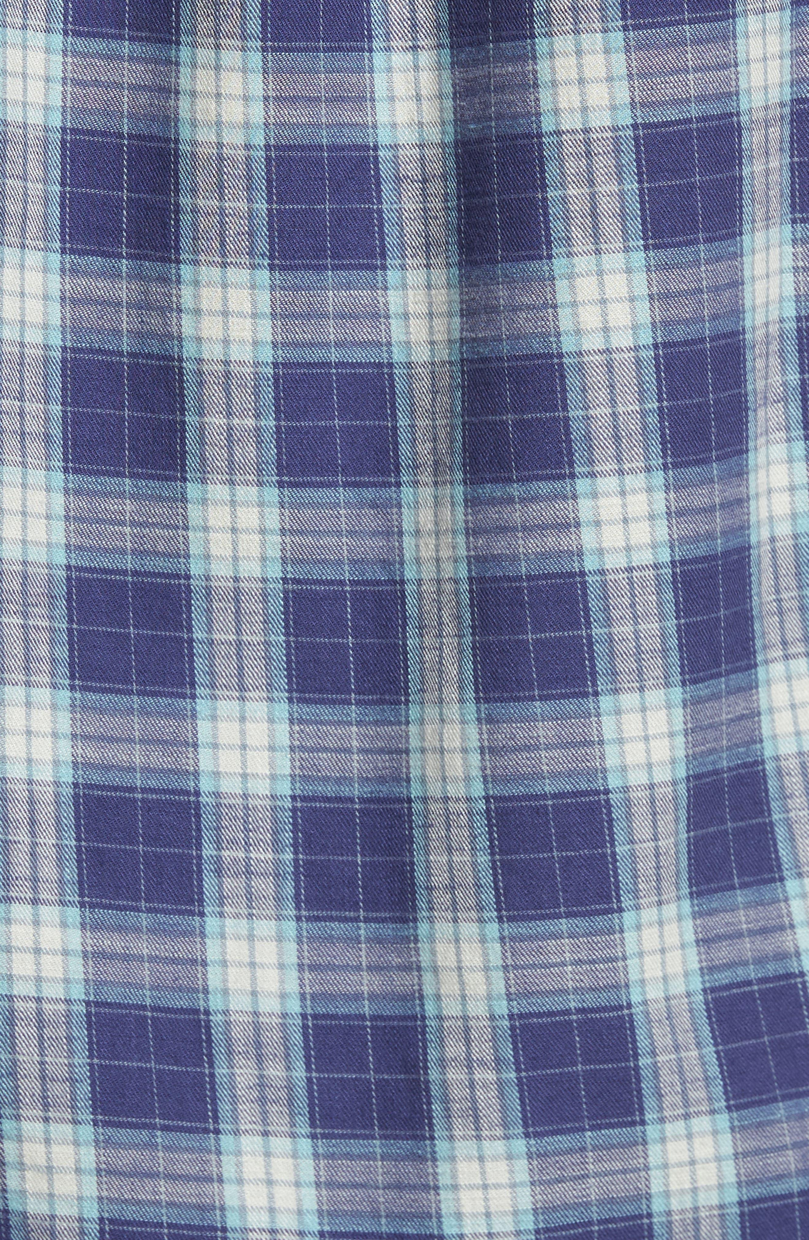 Walden Slim Fit Plaid Slub Twill Sport Shirt,                             Alternate thumbnail 5, color,                             Seafoam