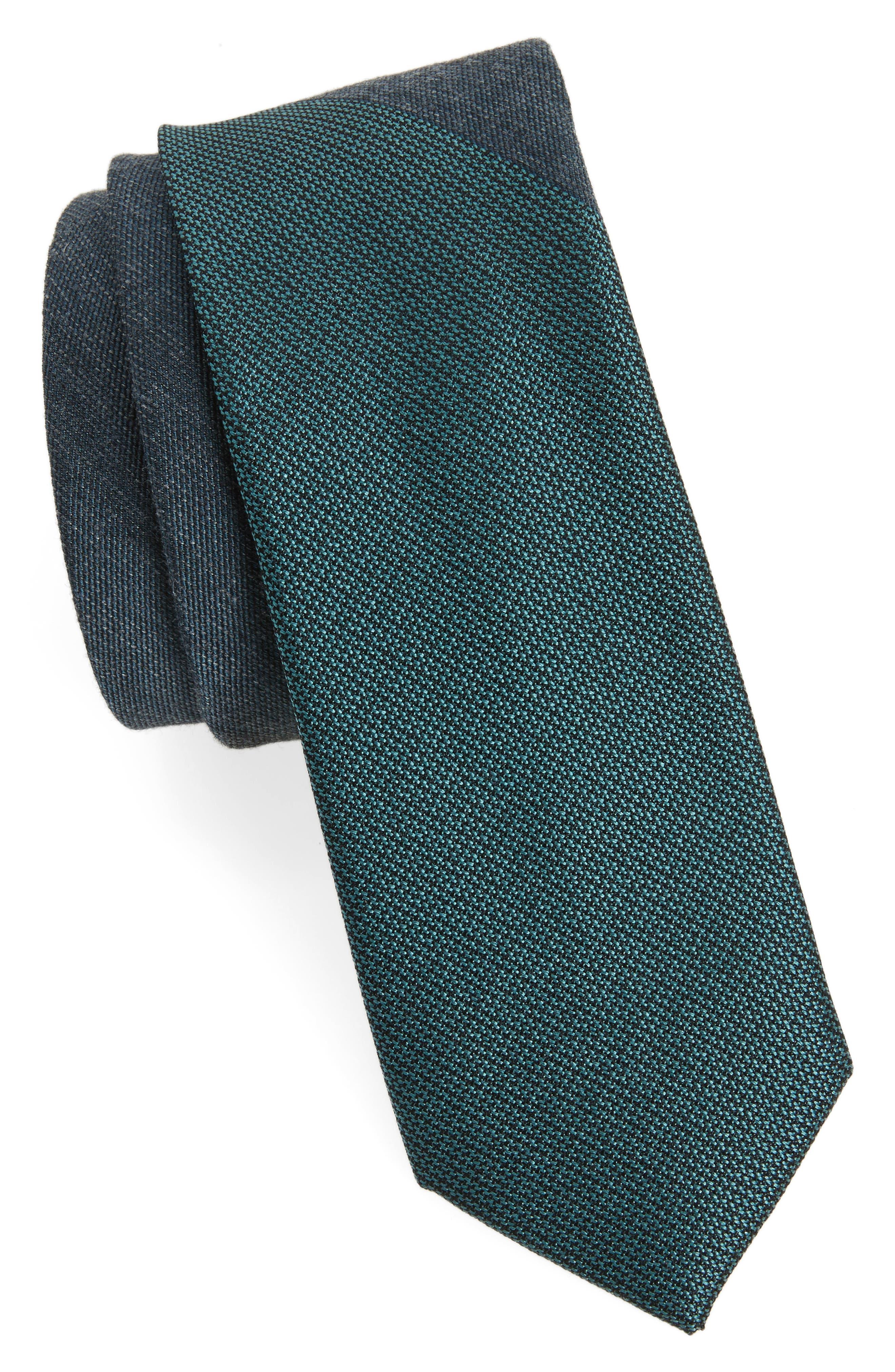 Half & Half Panel Tie,                             Main thumbnail 1, color,                             Teal