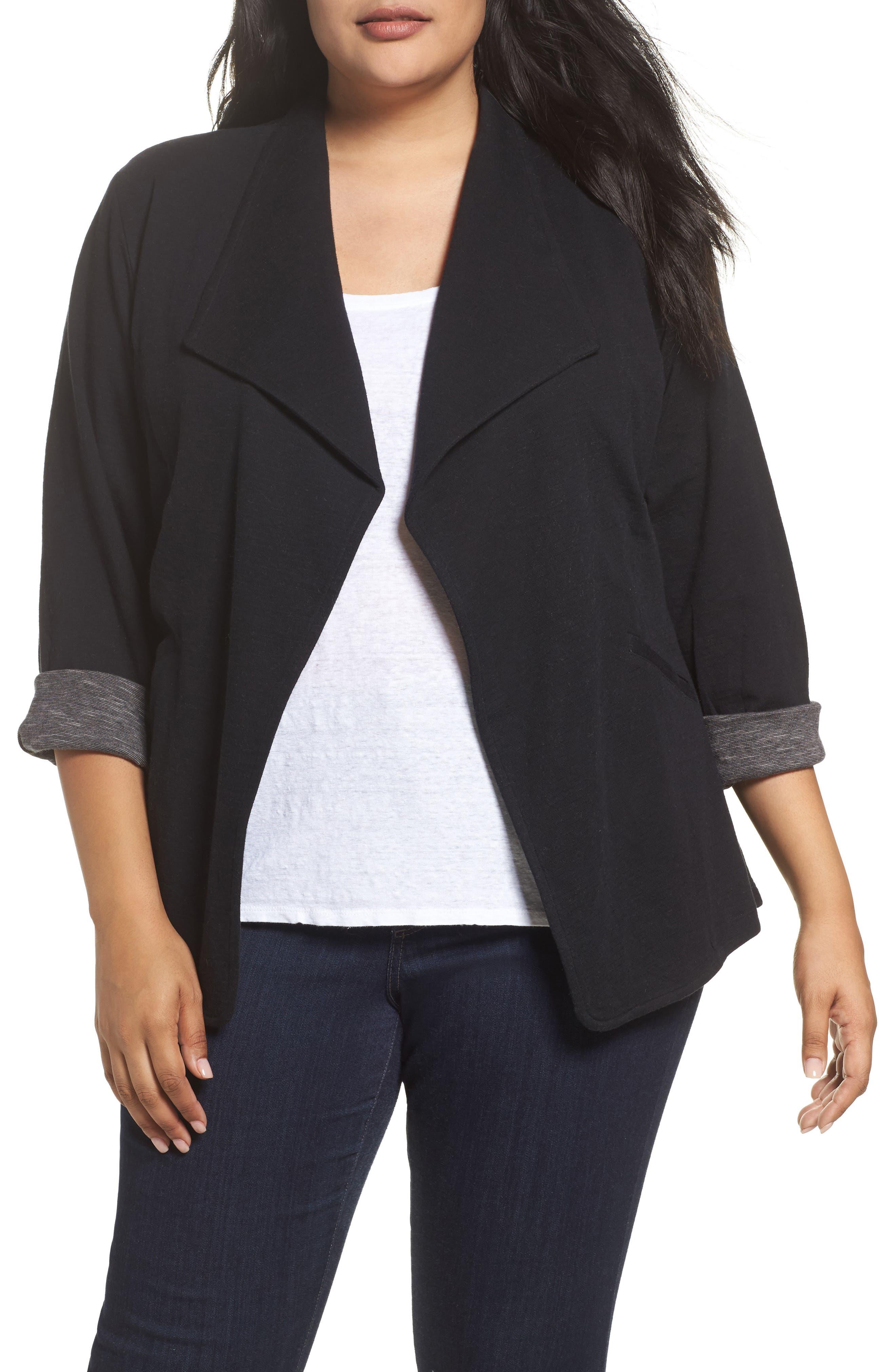 Wing Collar Knit Blazer,                             Main thumbnail 1, color,                             Black- Grey Pattern