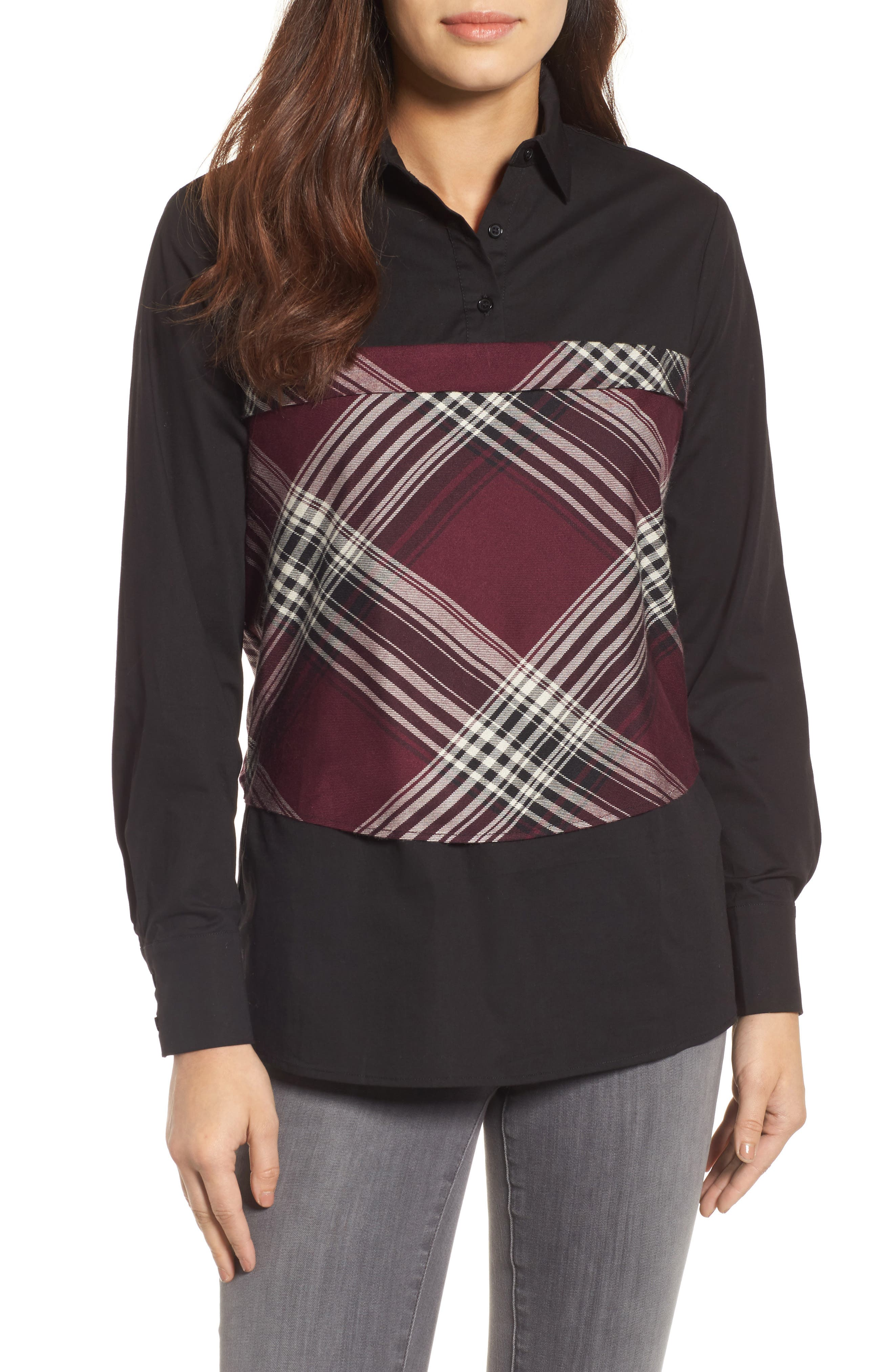 Plaid Corset Shirt,                         Main,                         color, Wine/ Black Plaid/ Black
