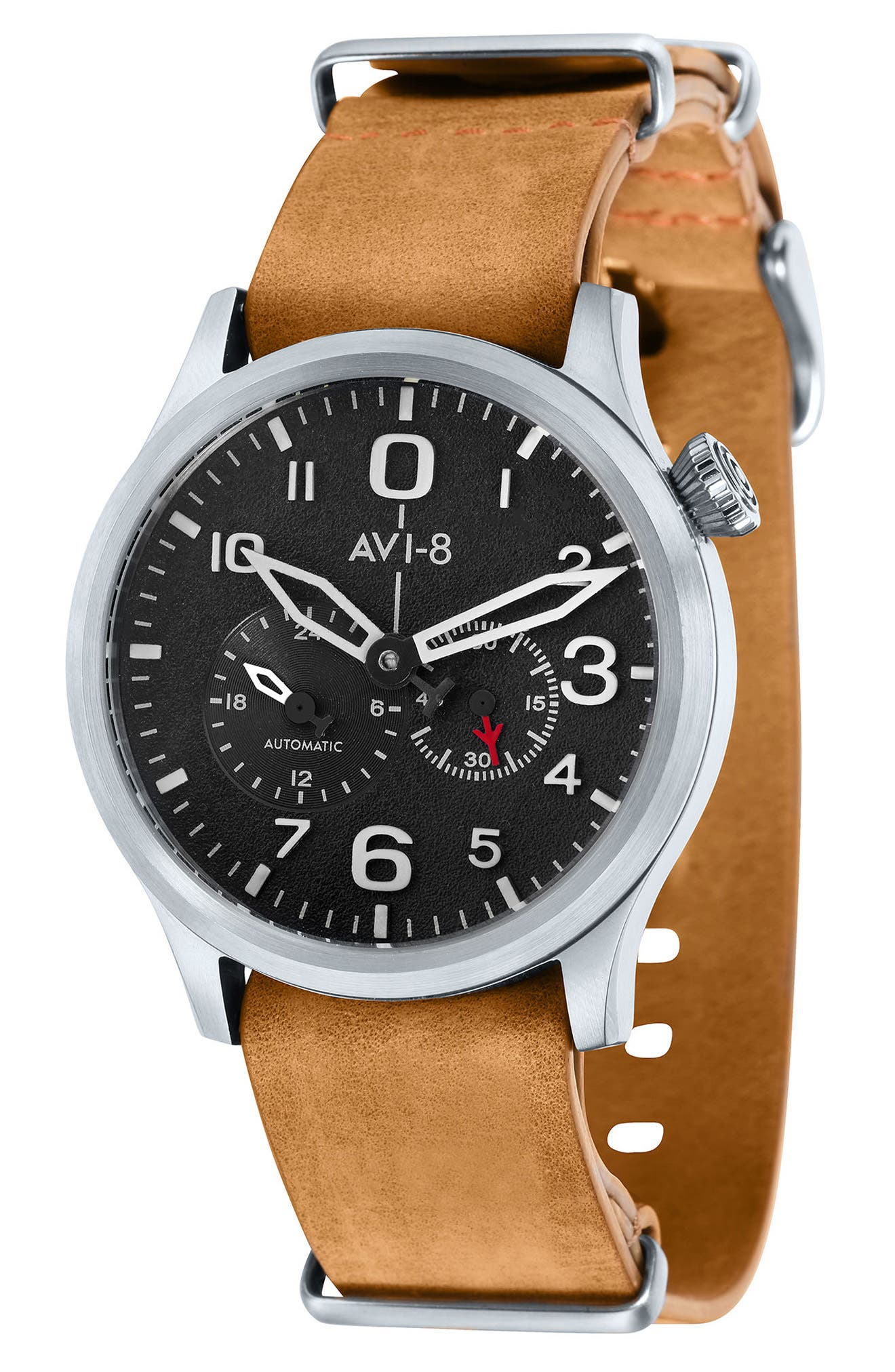 Flyboy Tuck Automatic Leather Strap Watch, 42mm,                         Main,                         color, Black/ Tan