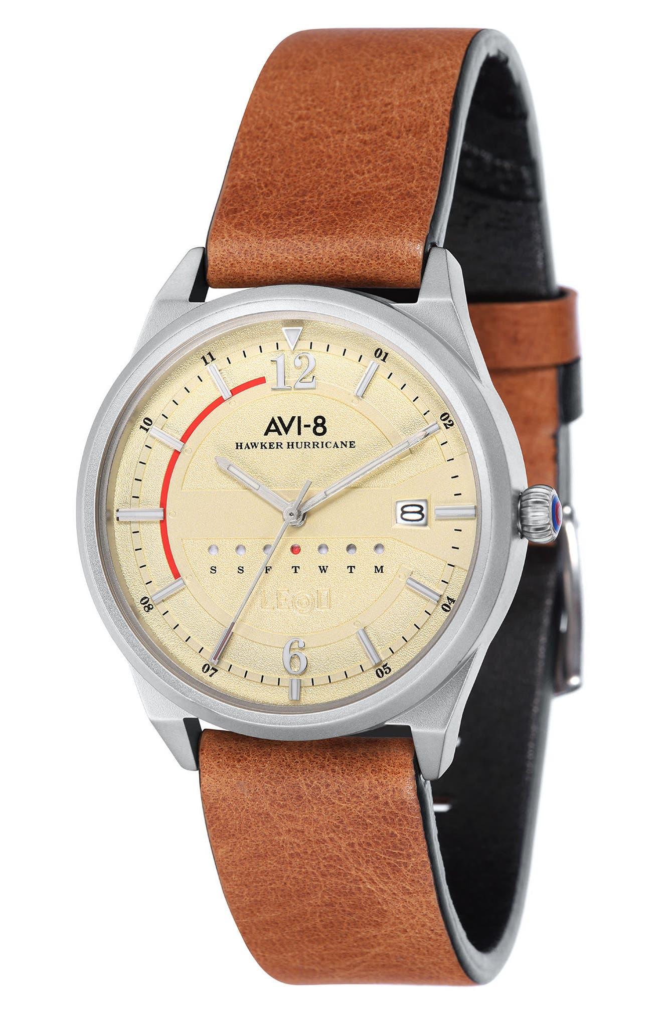 Main Image - AVI-8 Hawker Hurricane Leather Strap Watch, 38mm