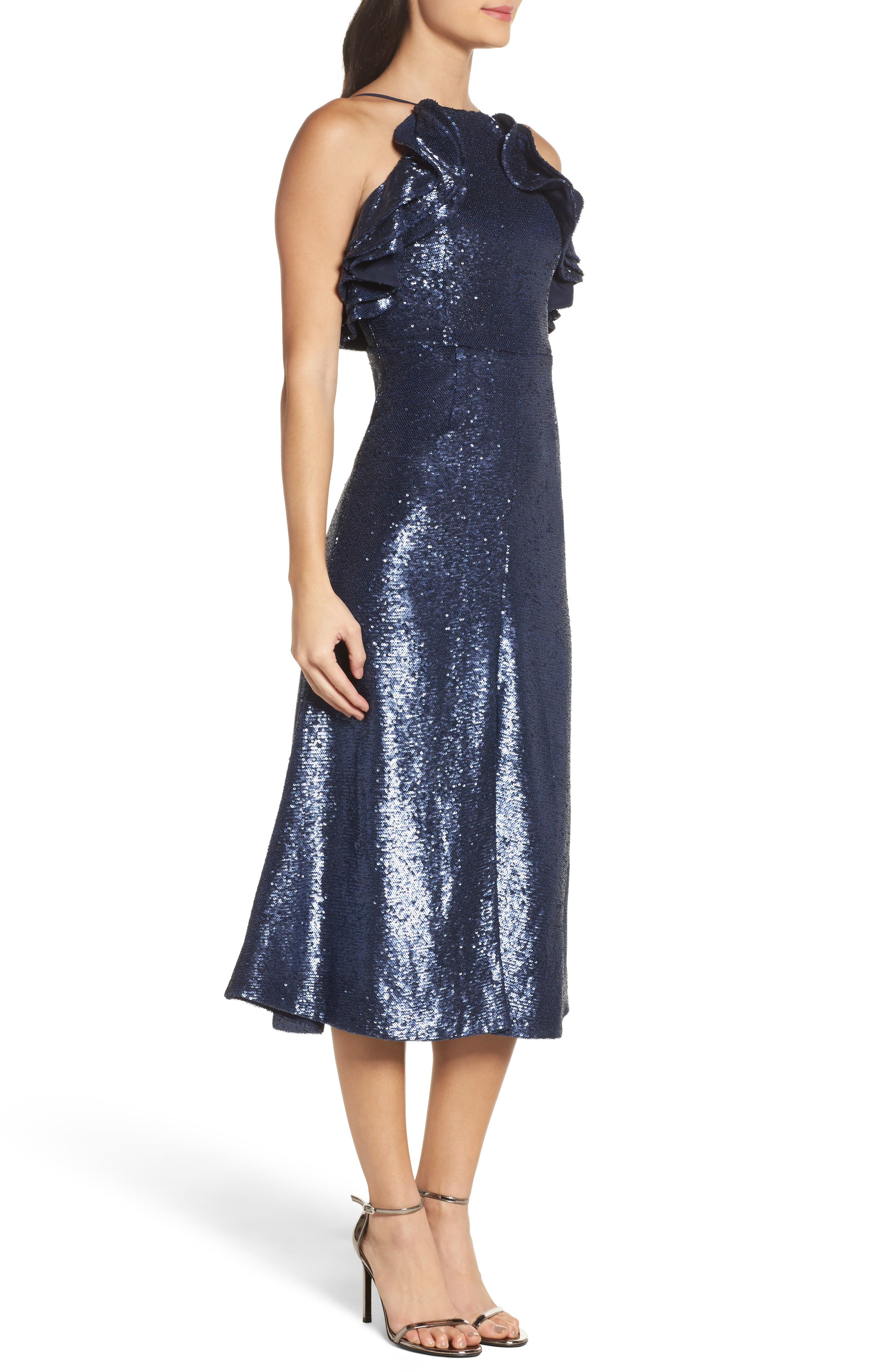 Alternate Image 3  - C/MEO Collective Illuminated Sequin Ruffle Midi Dress (Nordstrom Exclusive)