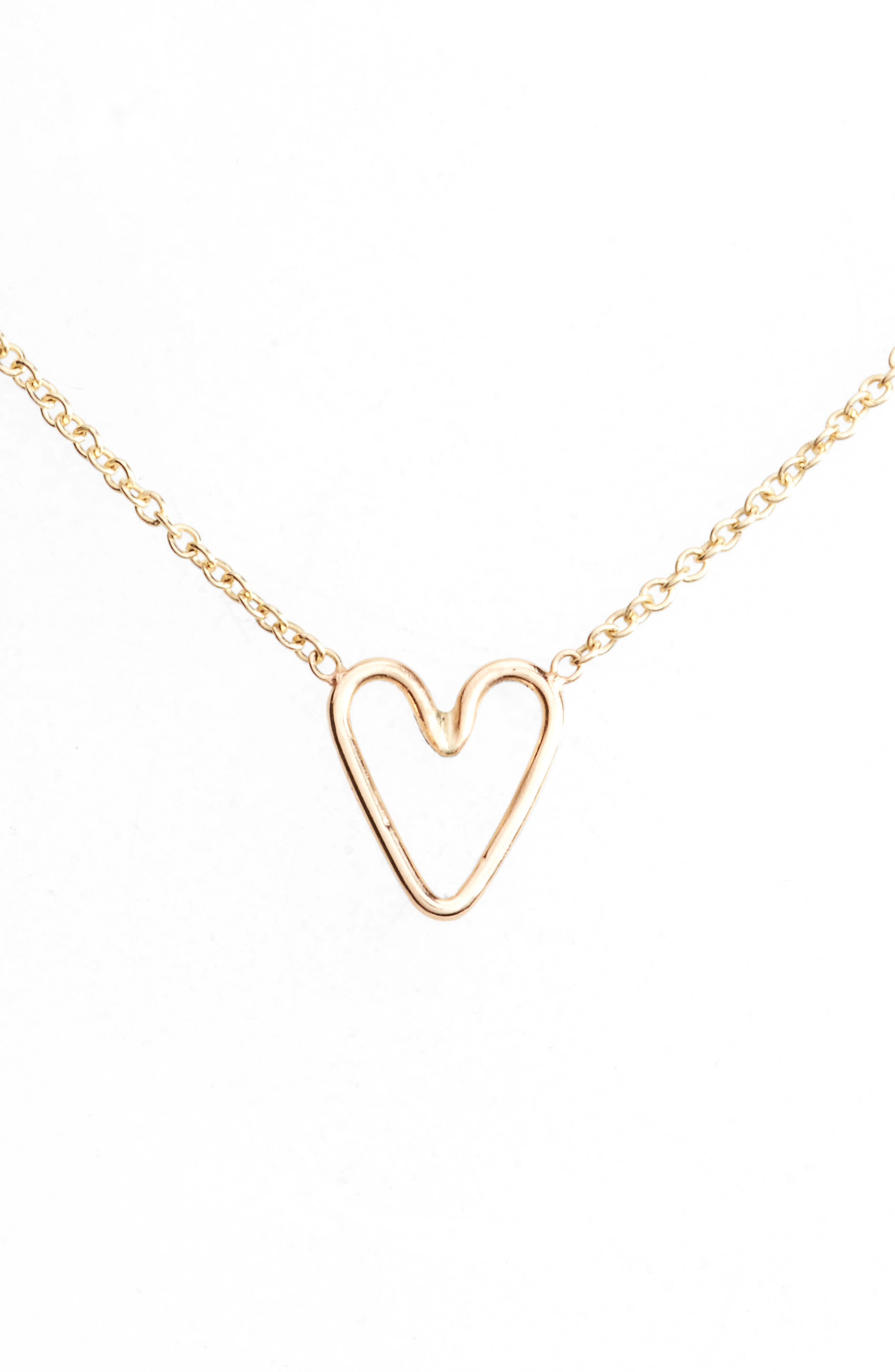 Tiny Open Heart Pendant Necklace,                             Main thumbnail 1, color,                             Yellow Gold