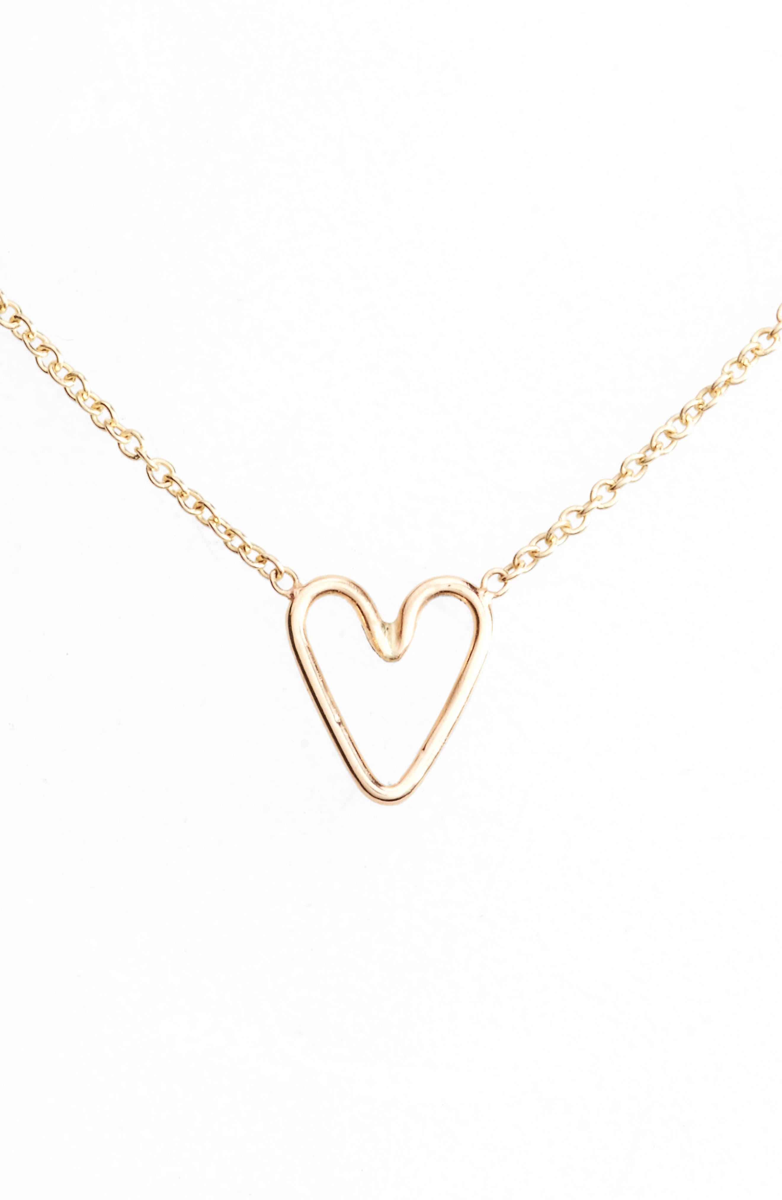 Main Image - Zoë Chicco Tiny Open Heart Pendant Necklace