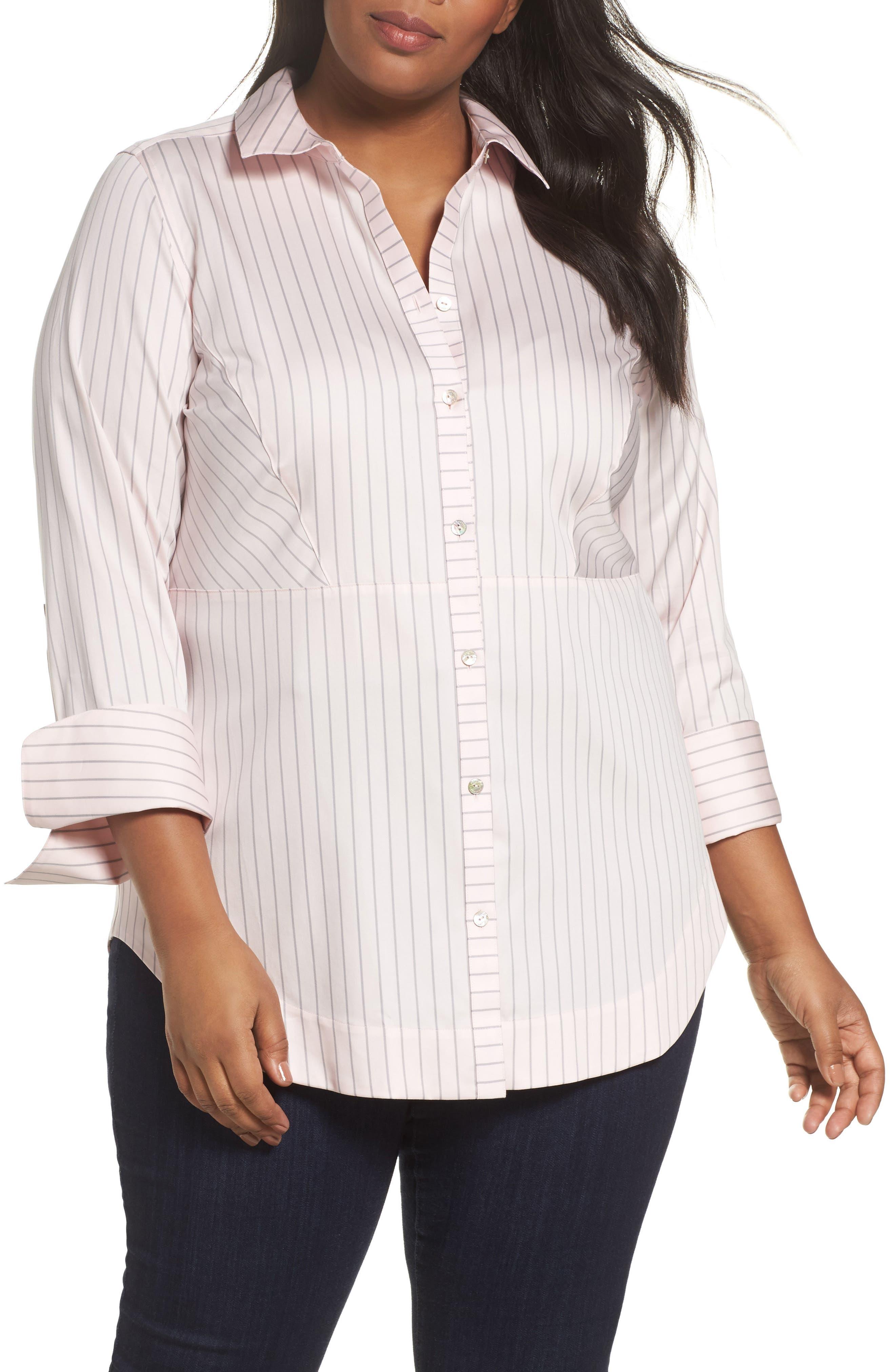 Alternate Image 1 Selected - Foxcroft Patrice Classic Stripe Shirt (Plus Size)