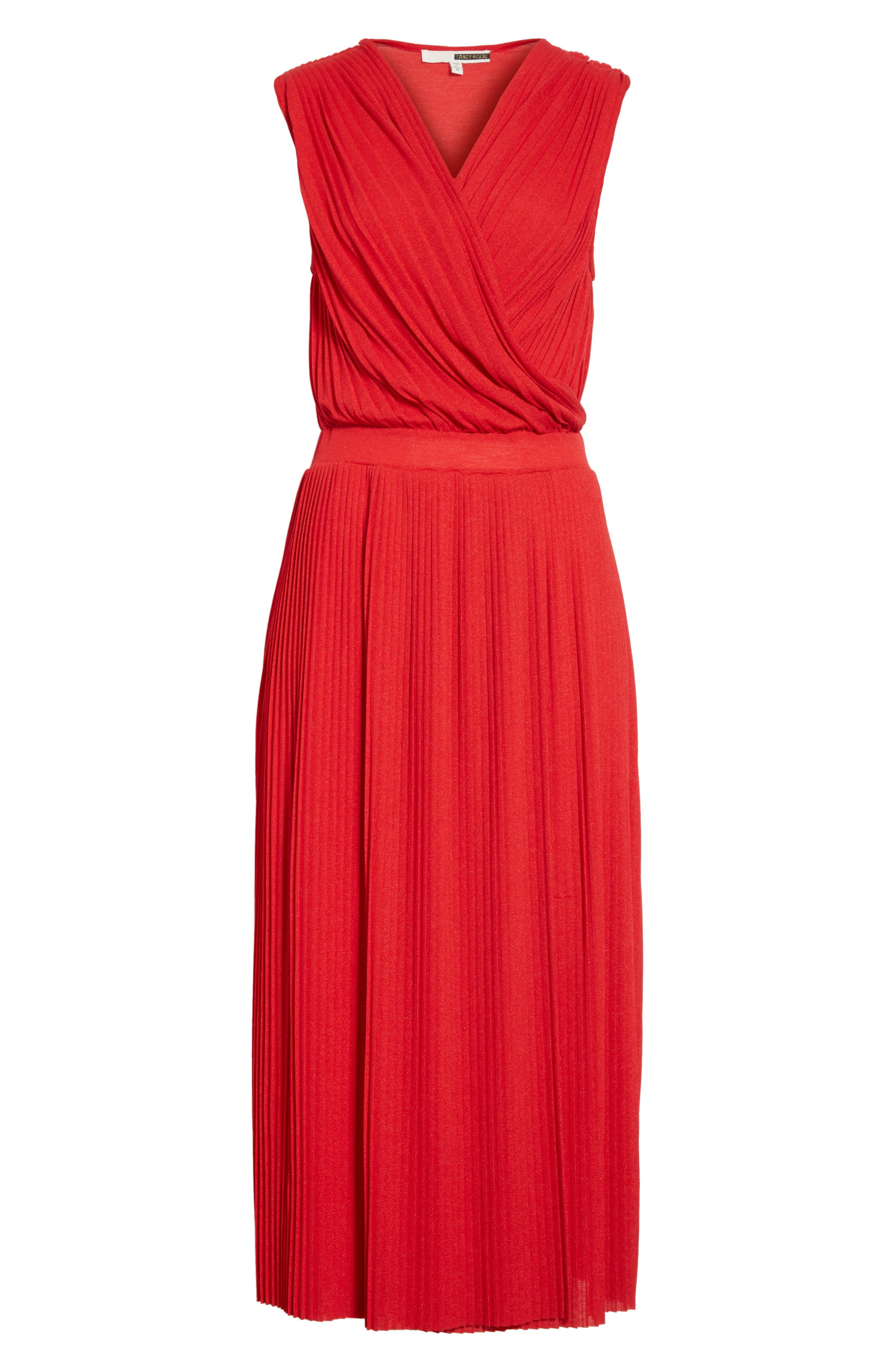 Surplice Fit & Flare Dress,                             Alternate thumbnail 6, color,                             Red Lacquer