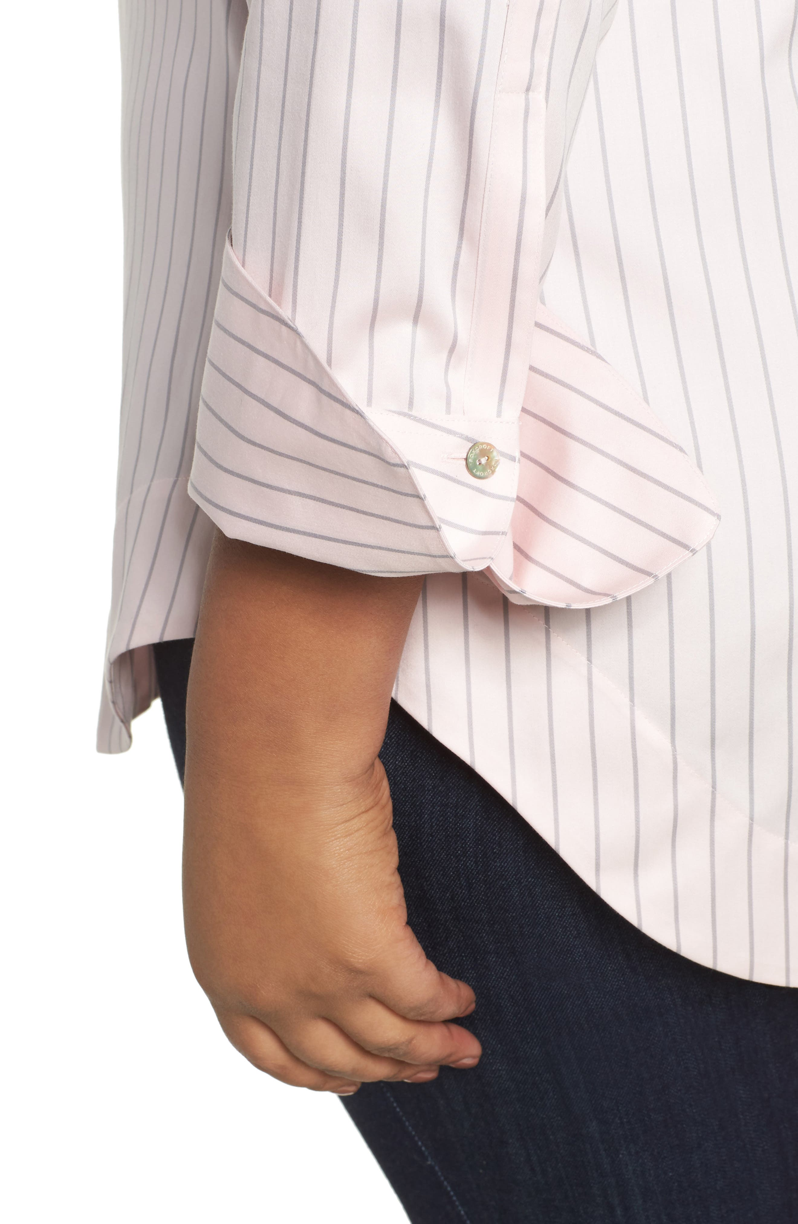 Alternate Image 4  - Foxcroft Patrice Classic Stripe Shirt (Plus Size)