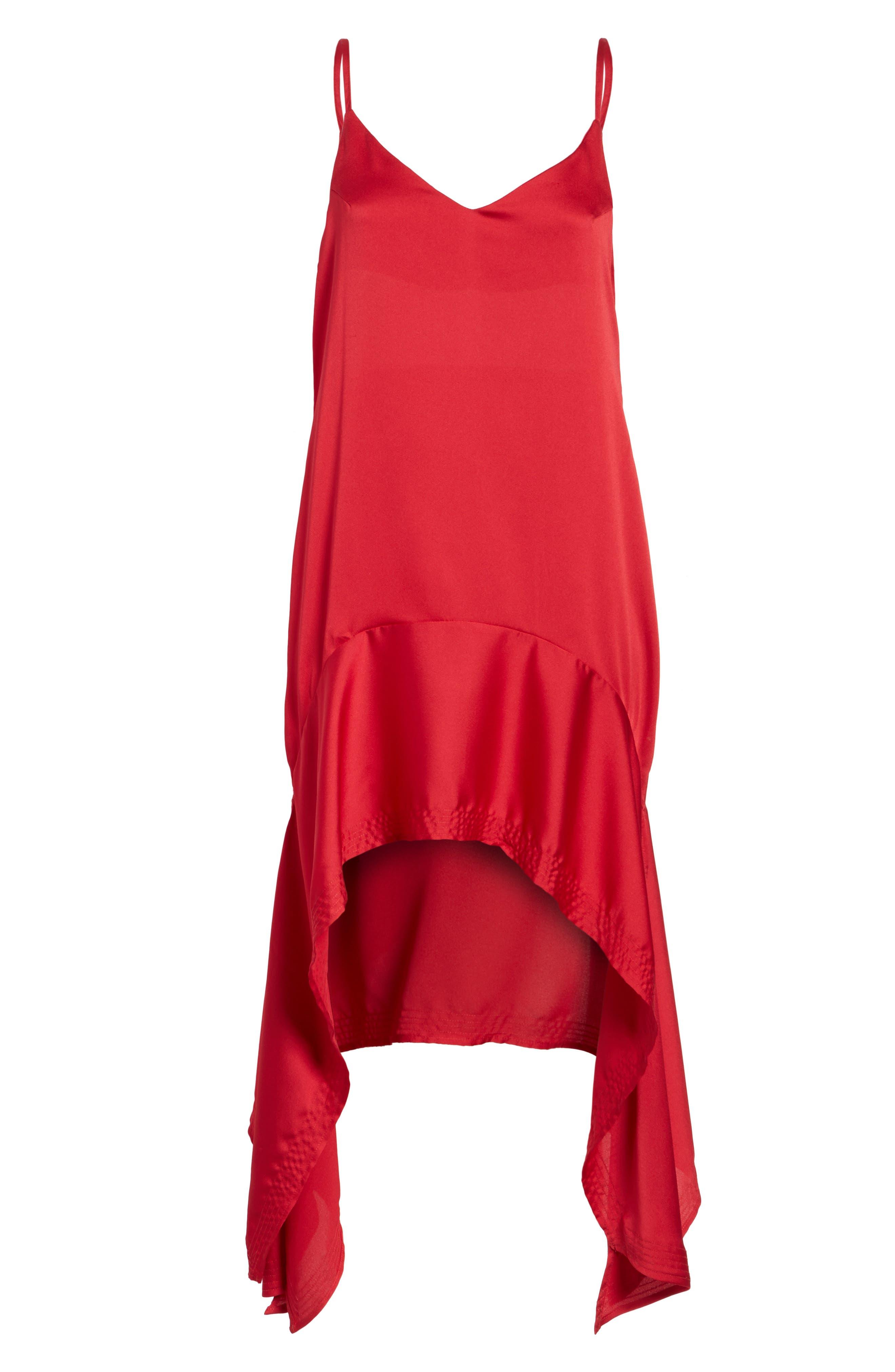 Palladium Shark Bite Hem Dress,                             Alternate thumbnail 6, color,                             Ruby