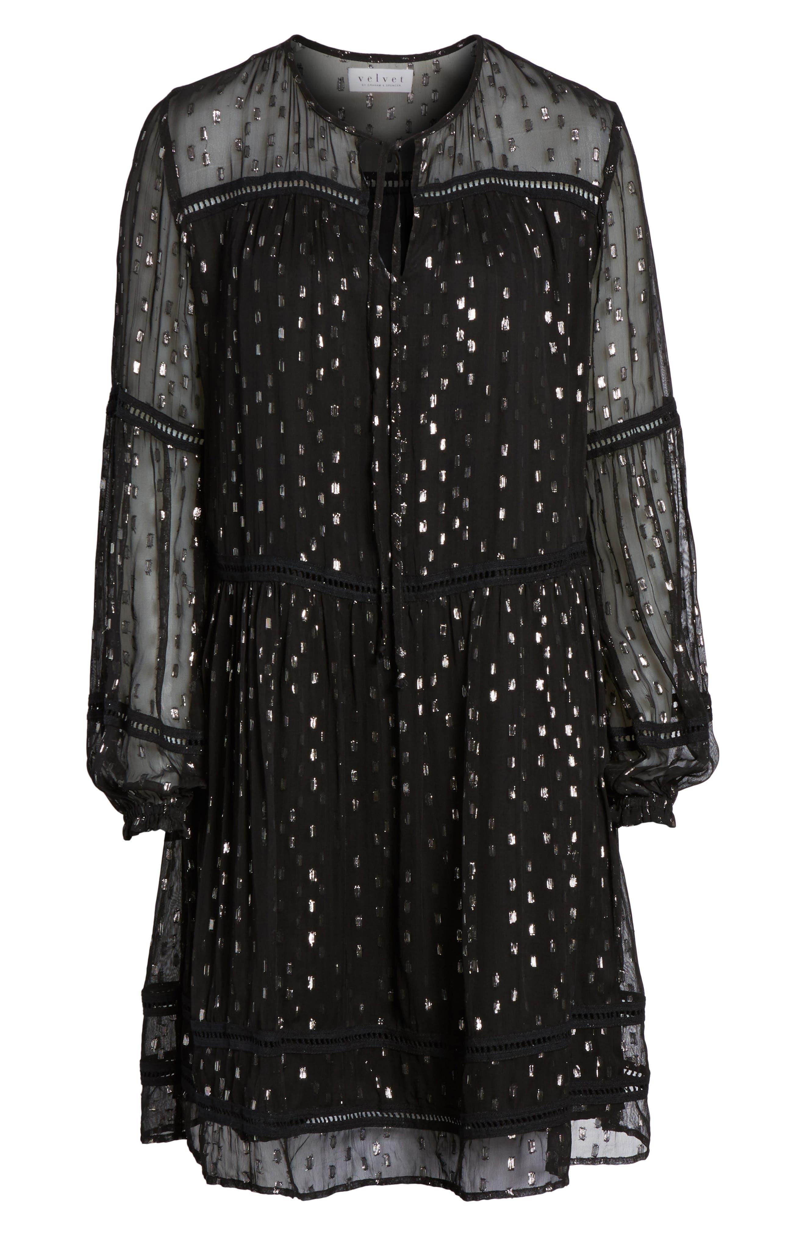 Split Neck Chiffon Dress,                             Alternate thumbnail 6, color,                             Silver