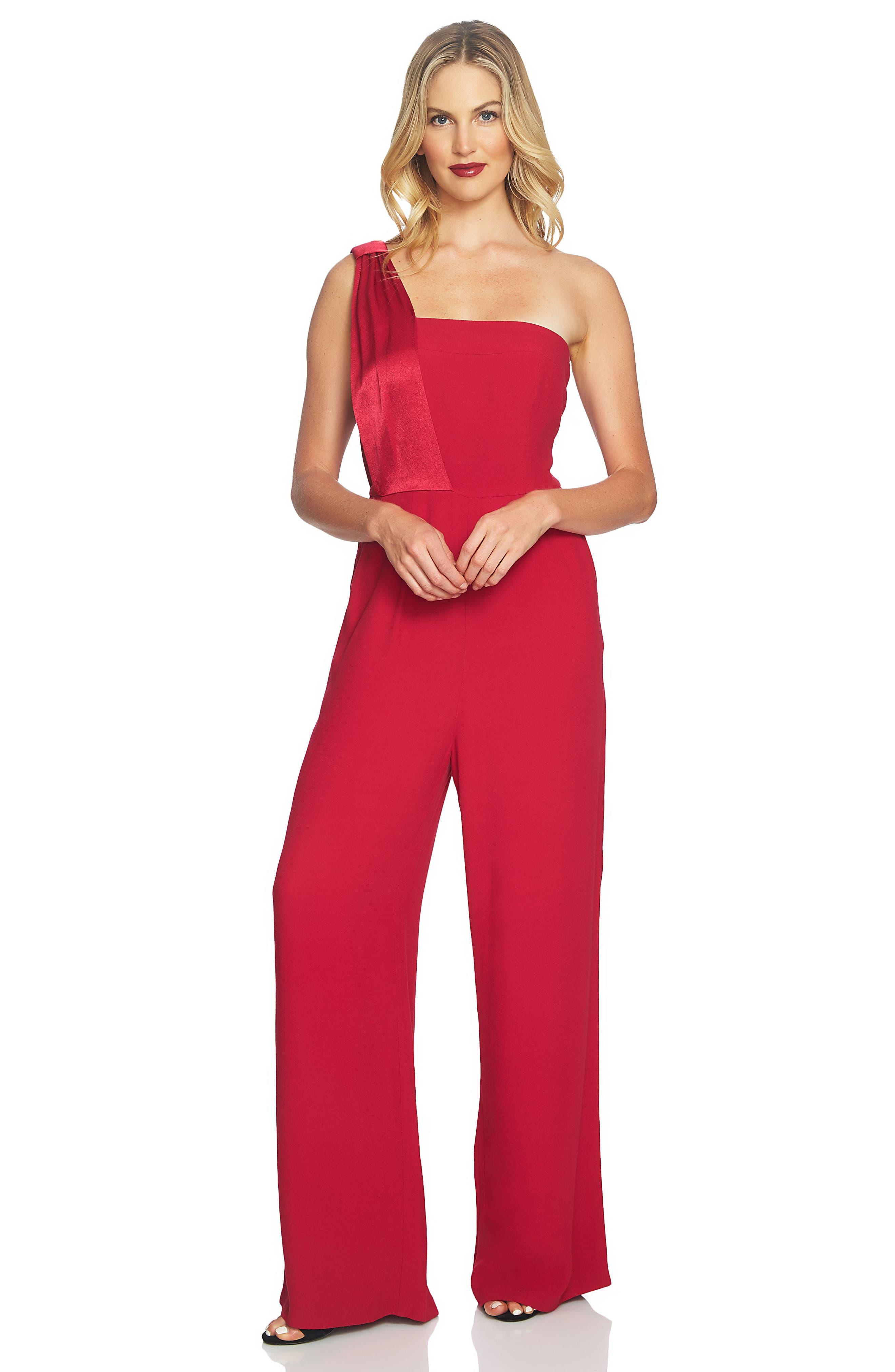 One Shoulder Jumpsuit,                             Alternate thumbnail 2, color,                             Persian Red