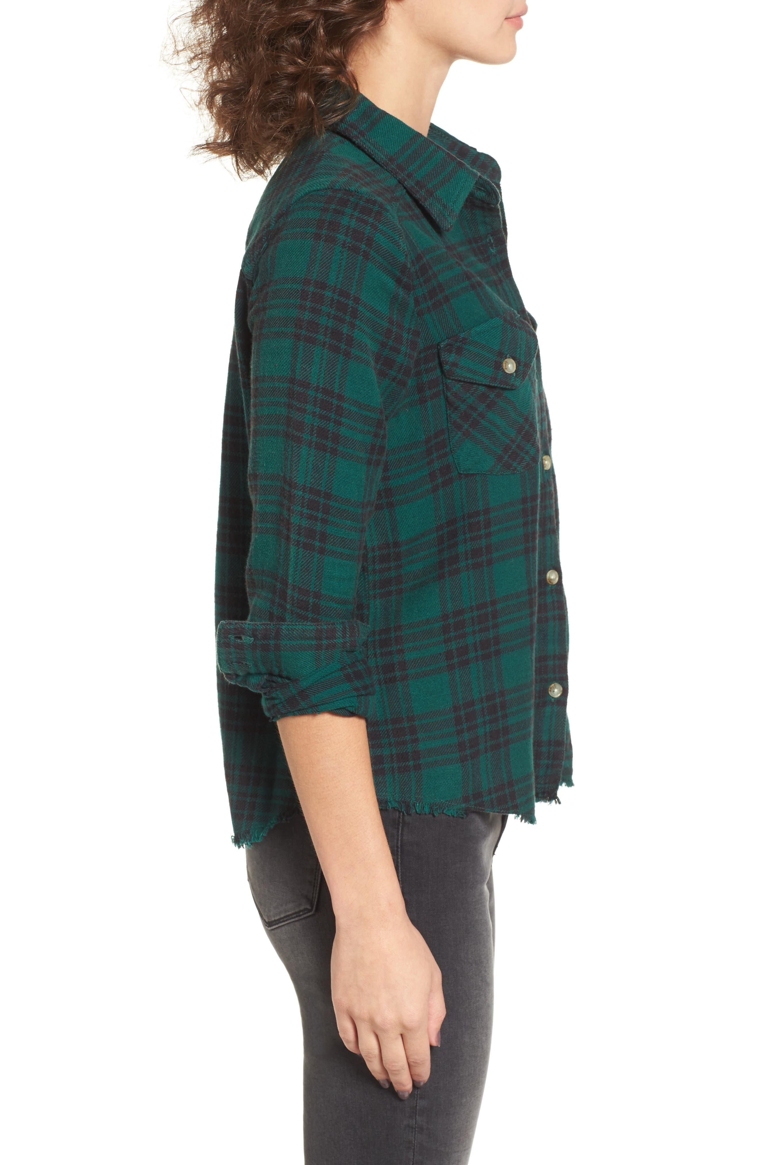 In a Haze Plaid Cotton Shirt,                             Alternate thumbnail 3, color,                             Garden Green