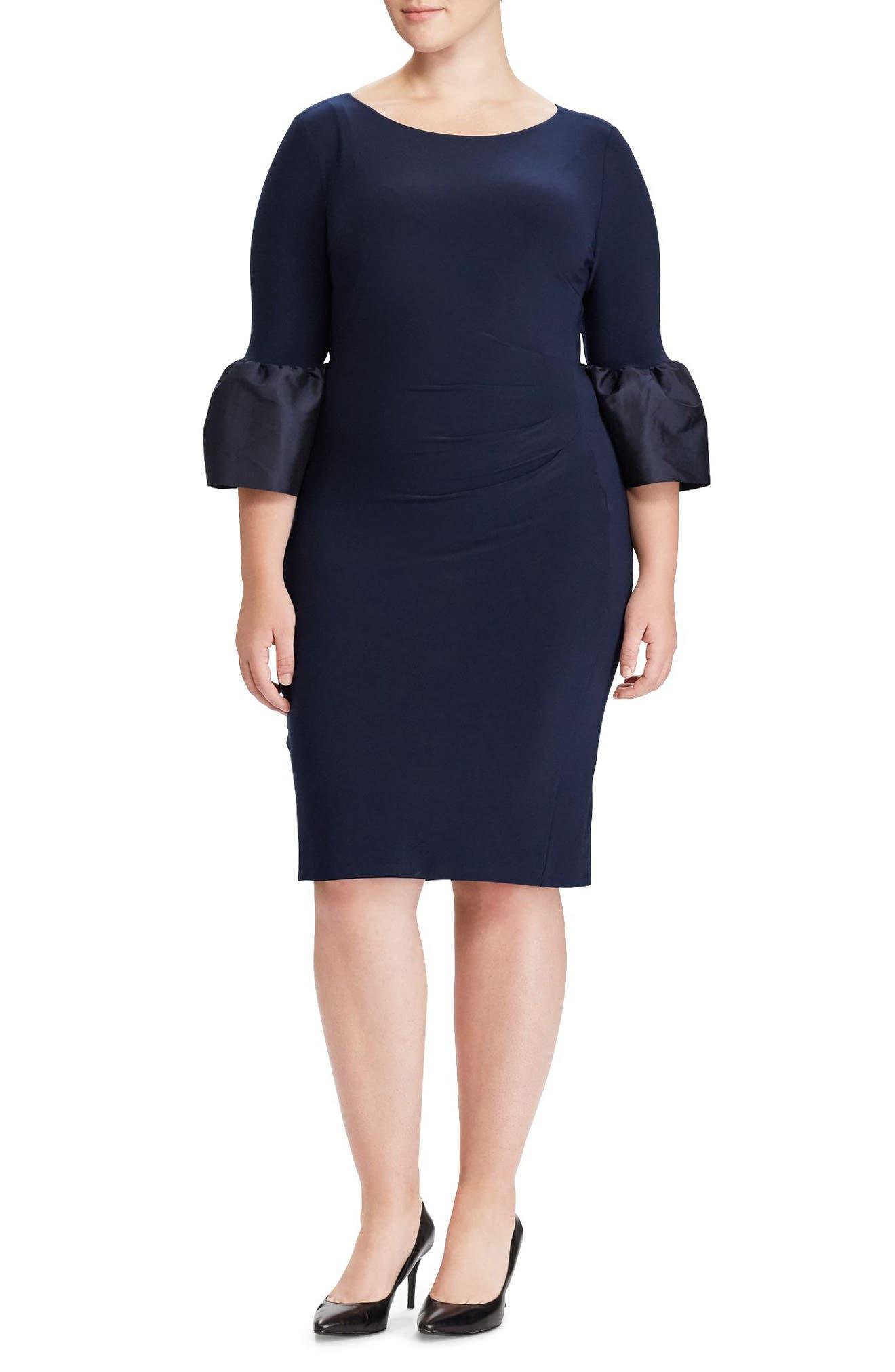 Taffeta Cuff Jersey Shift Dress,                             Main thumbnail 1, color,                             Light Navy/ Light Navy